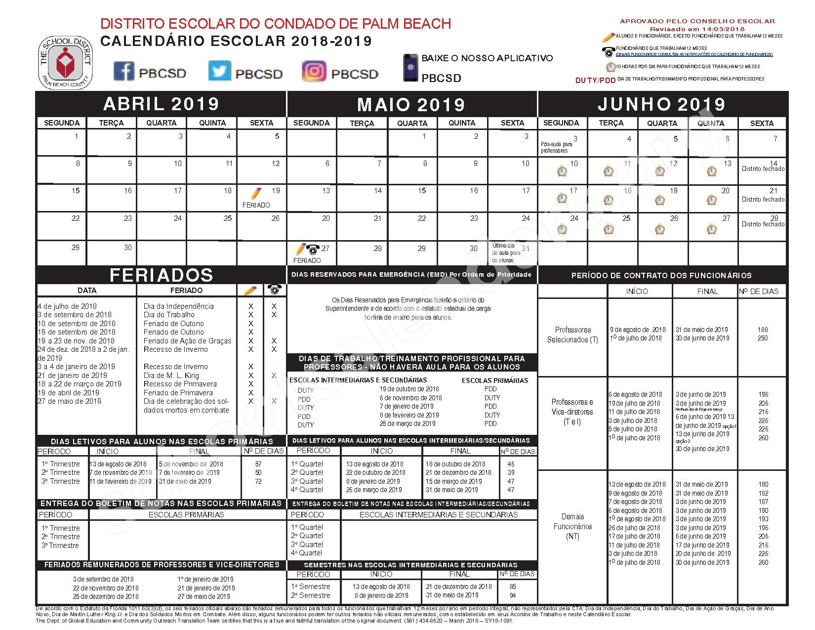 2018 - 2019 CALENDÁRIO ESCOLAR – Palm Beach County School District – page 2