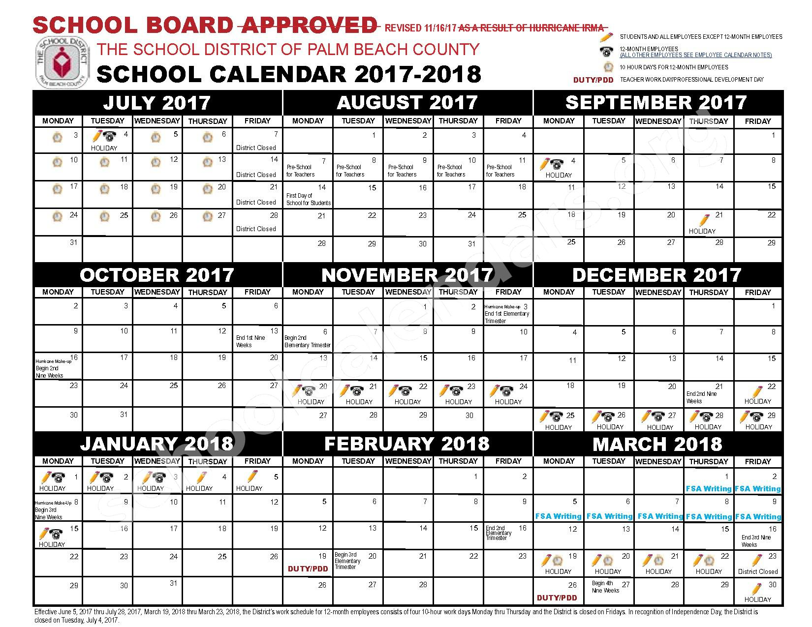 2017 - 2018 District Calendar – New Horizons Elementary School – page 1