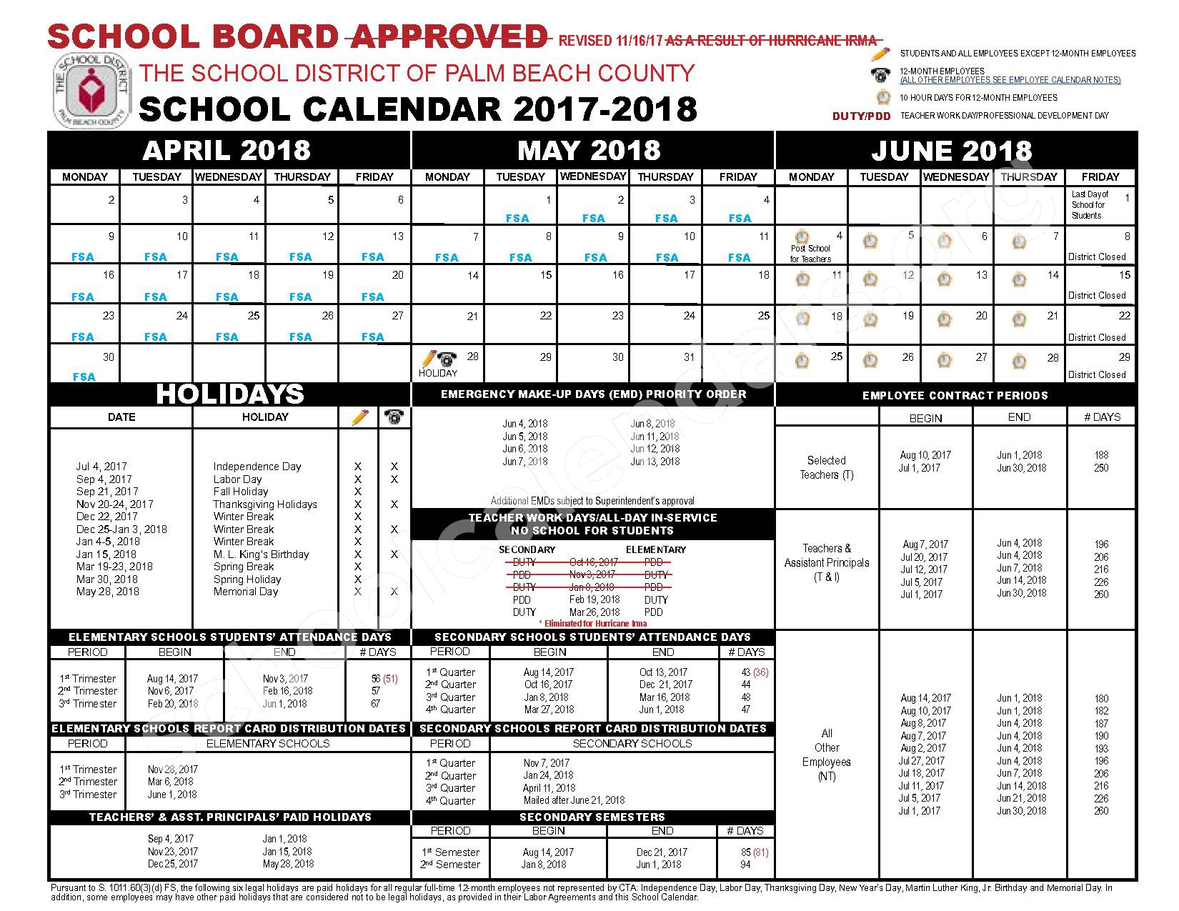 2017 - 2018 District Calendar – New Horizons Elementary School – page 2