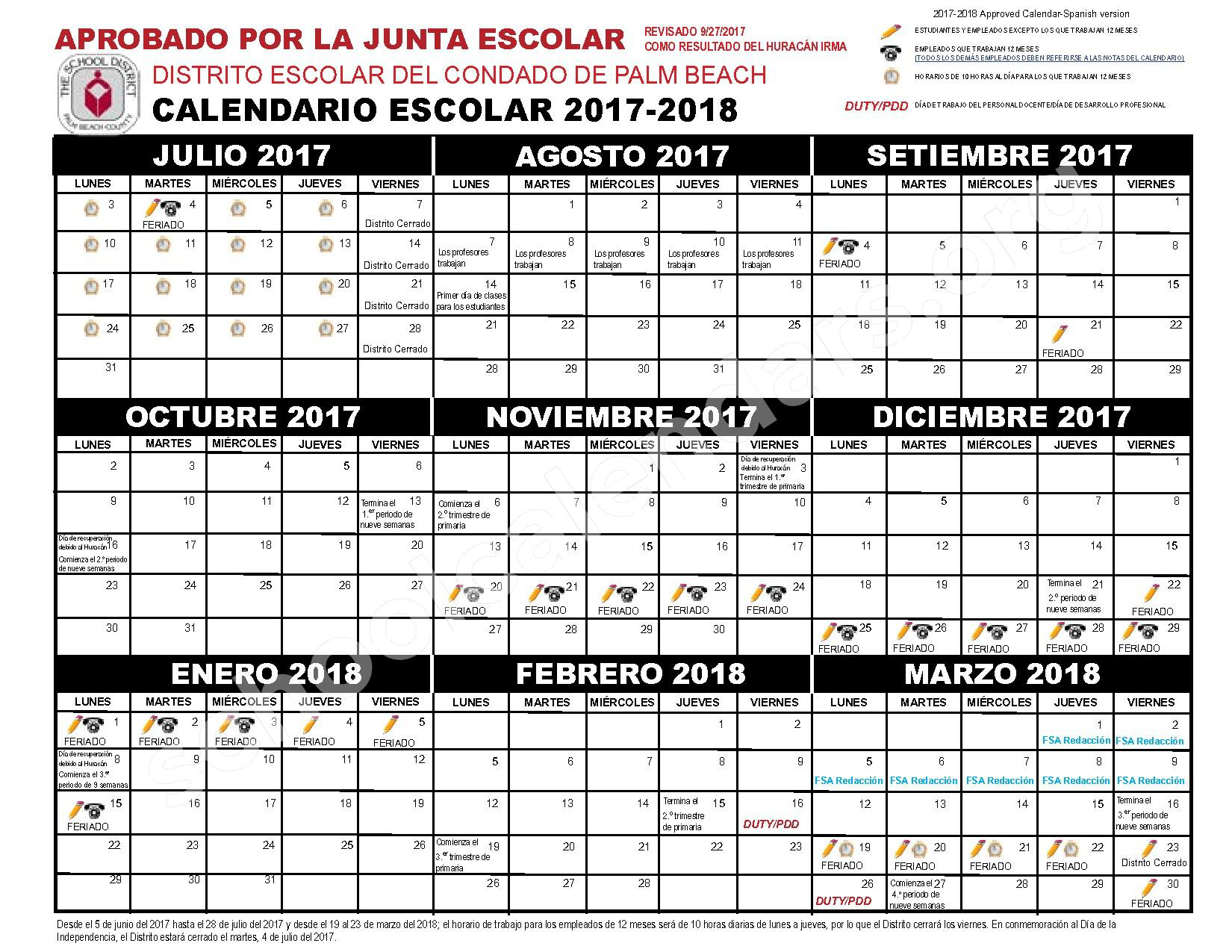 2017 - 2018 Calendario Escolar – Boynton Beach Community Adult – page 1