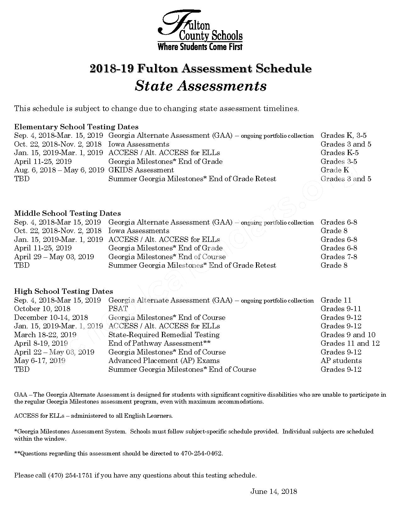 2018 - 2019 Fulton Testing Schedule – Holcomb Bridge Middle School – page 1