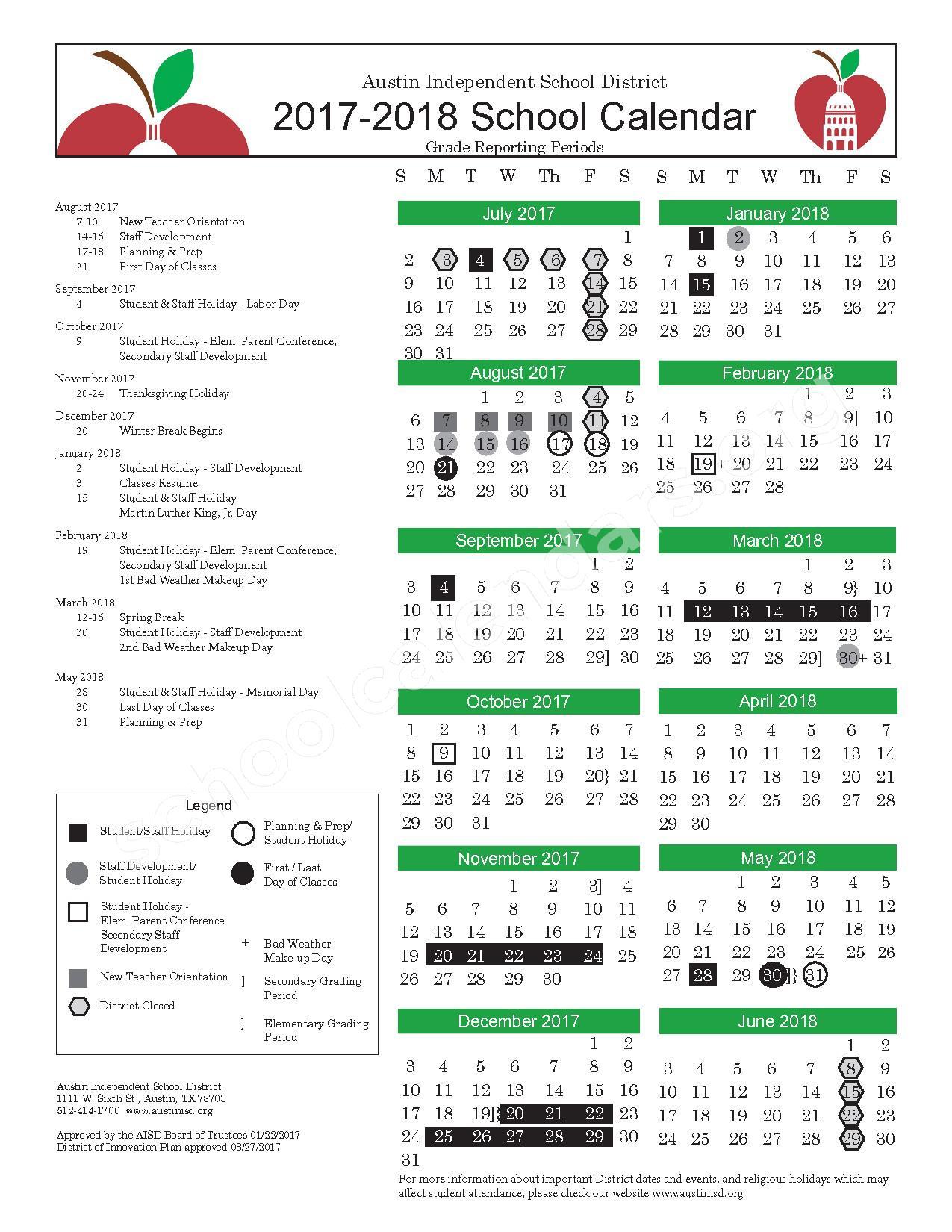 Aisd 2022 23 Calendar.A U S T I N S C H O O L D I S T R I C T C A L E N D A R Zonealarm Results