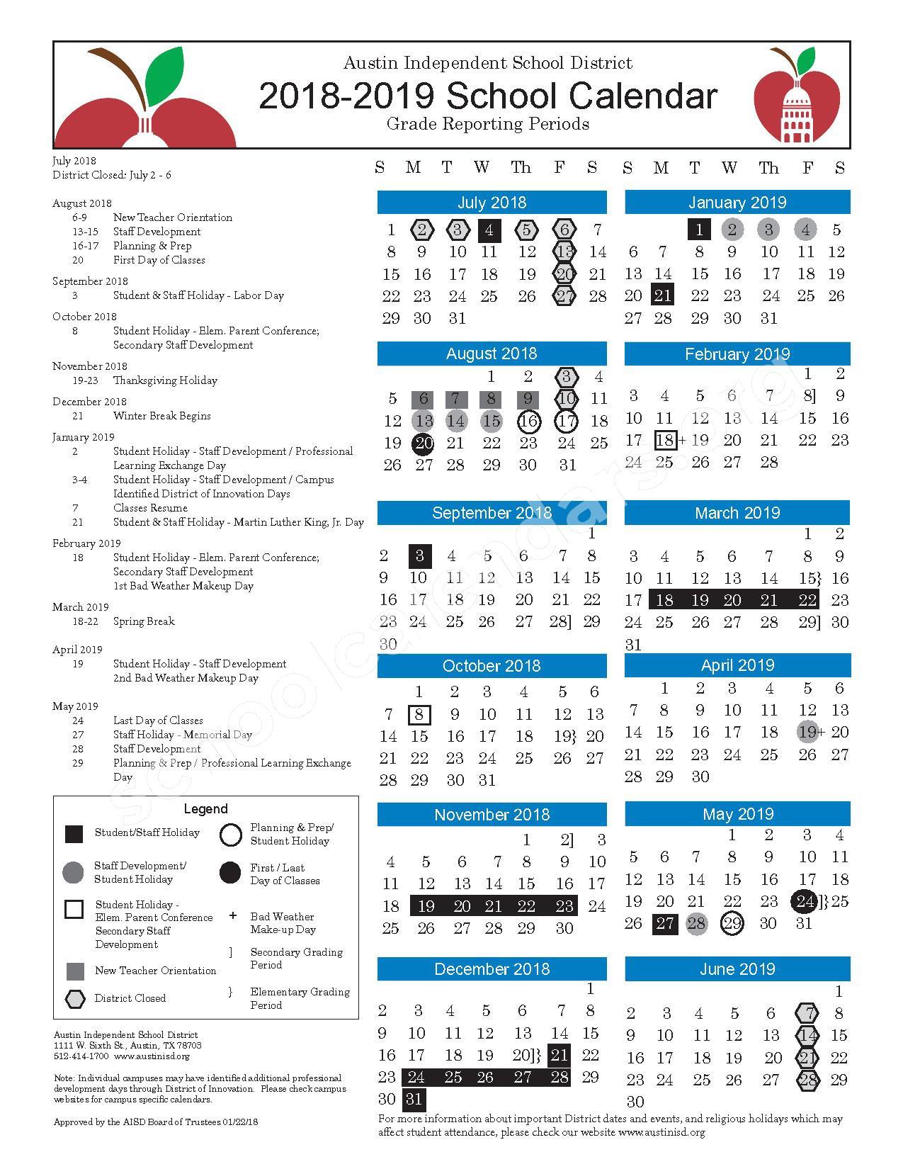 2018 - 2019 Calendar – Austin Independent School District – page 1