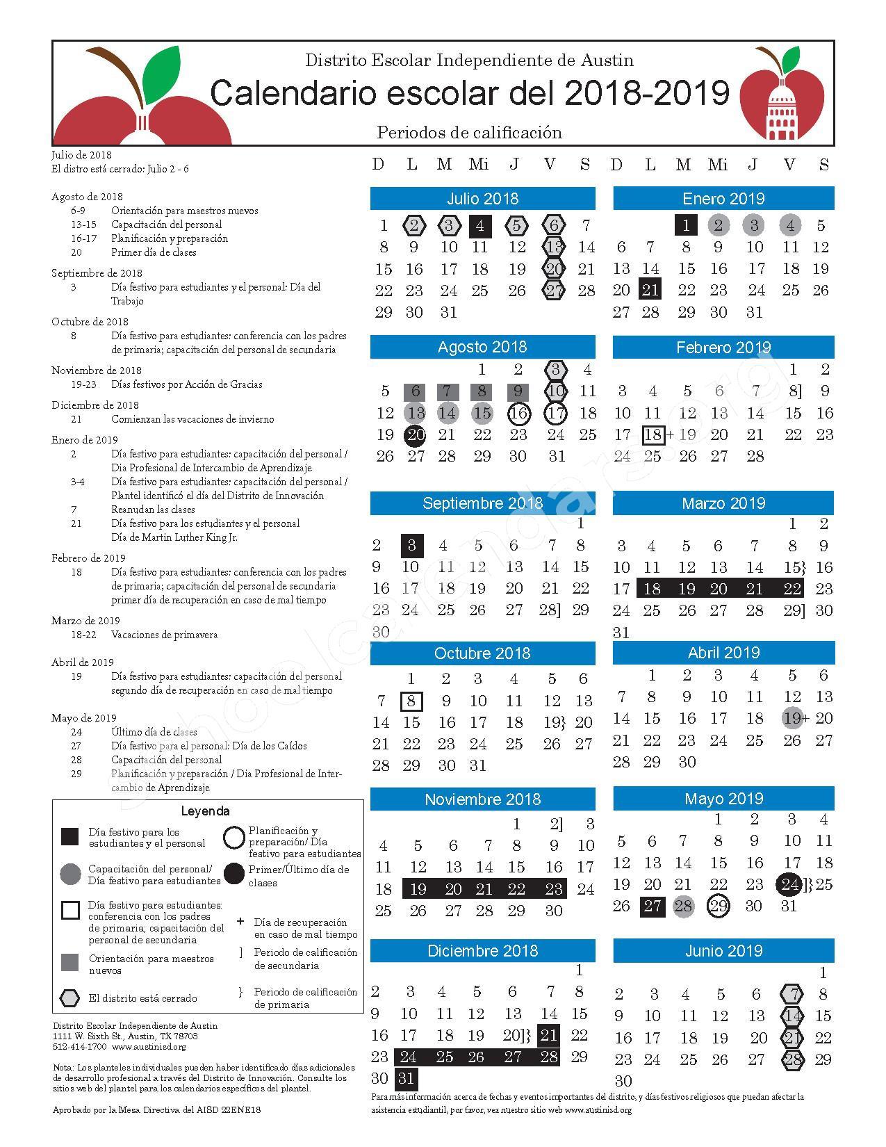 2018 - 2019 Calendar – Austin Independent School District – page 2