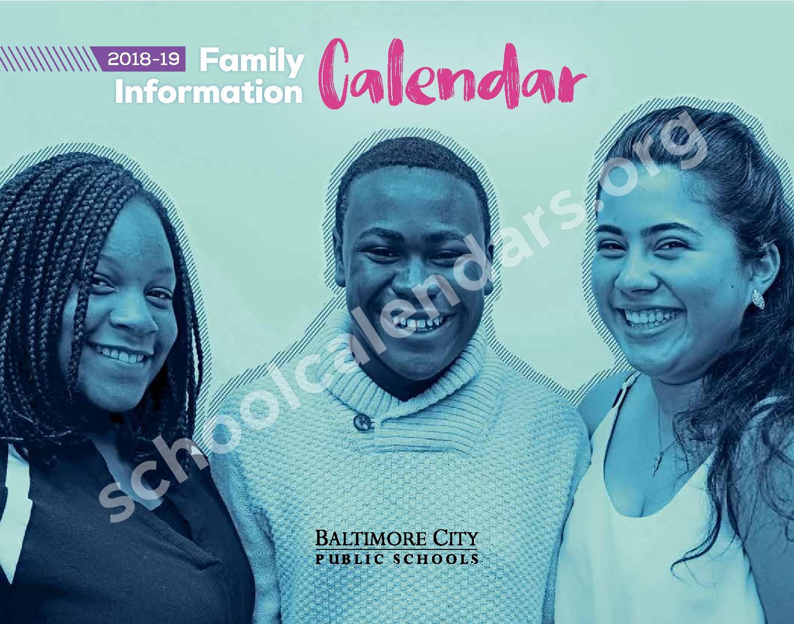 2018 - 2019 District Calendar – George W.F. McMechen – page 1