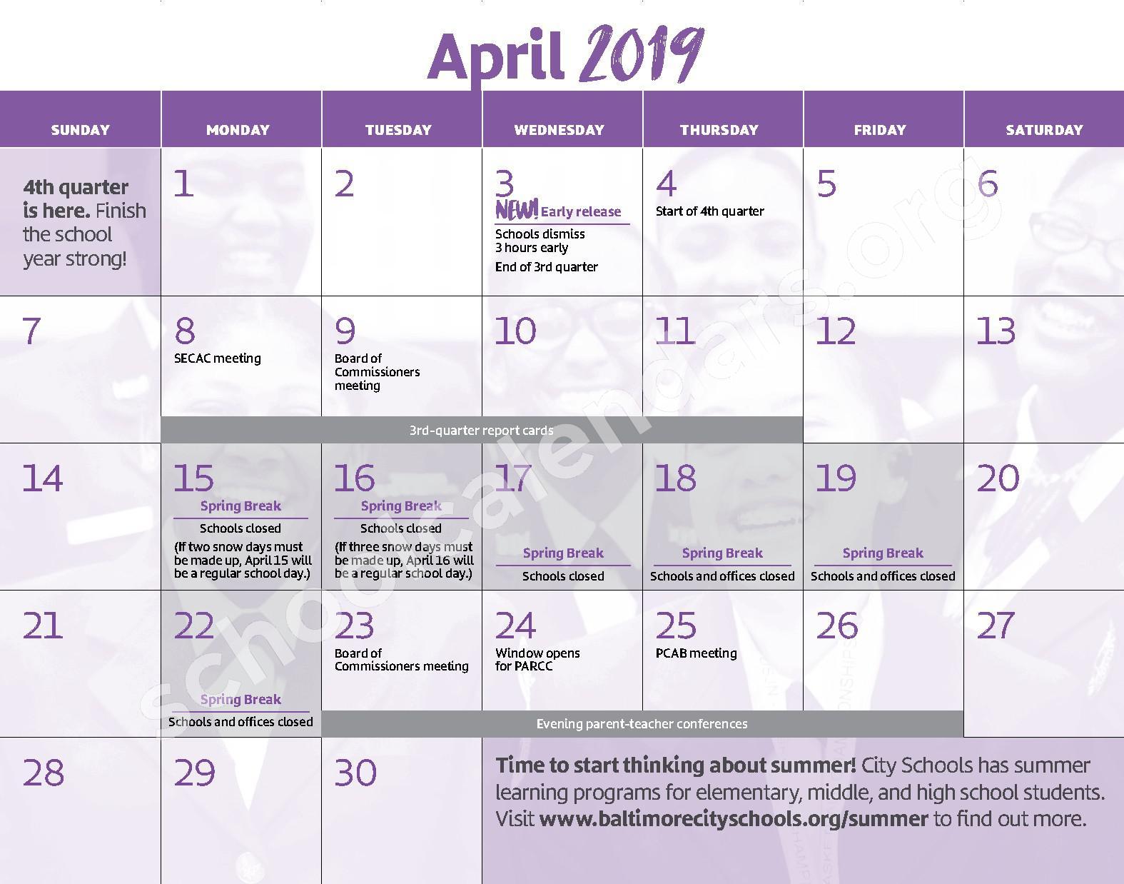2018 - 2019 District Calendar – George W.F. McMechen – page 11