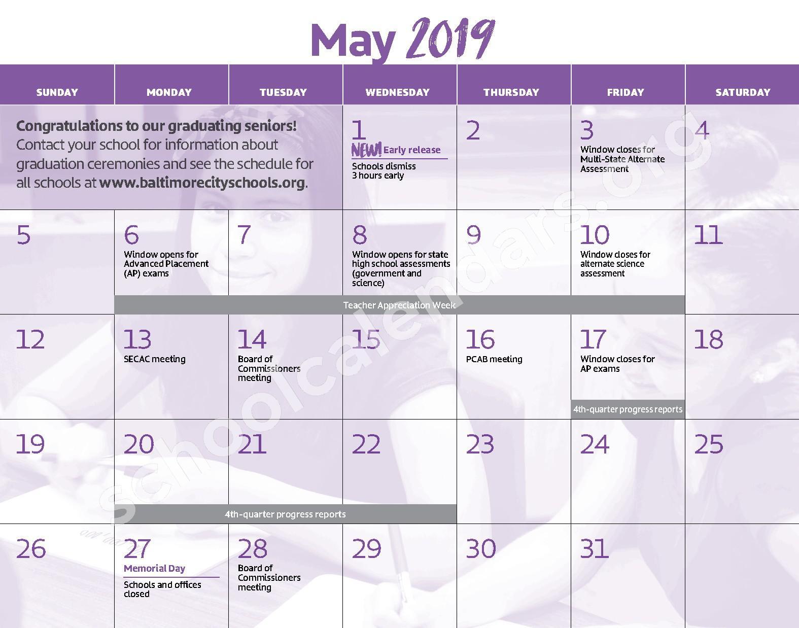 2018 - 2019 District Calendar – George W.F. McMechen – page 12