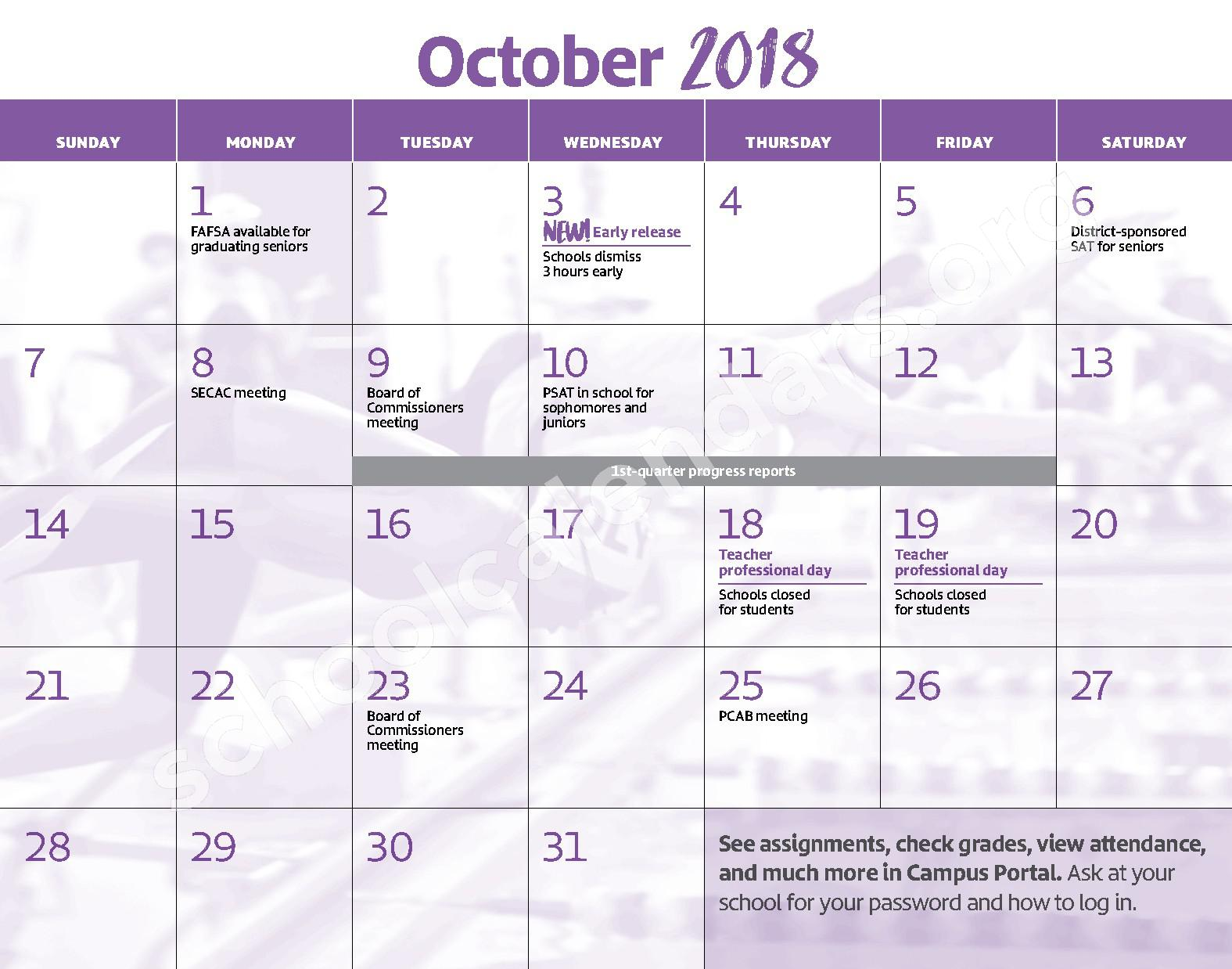 2018 - 2019 District Calendar – George W.F. McMechen – page 5