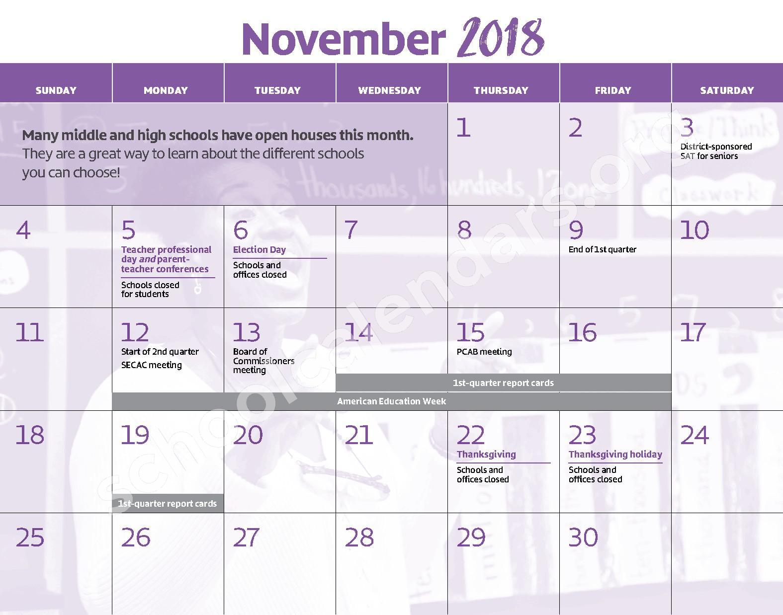 2018 - 2019 District Calendar – George W.F. McMechen – page 6