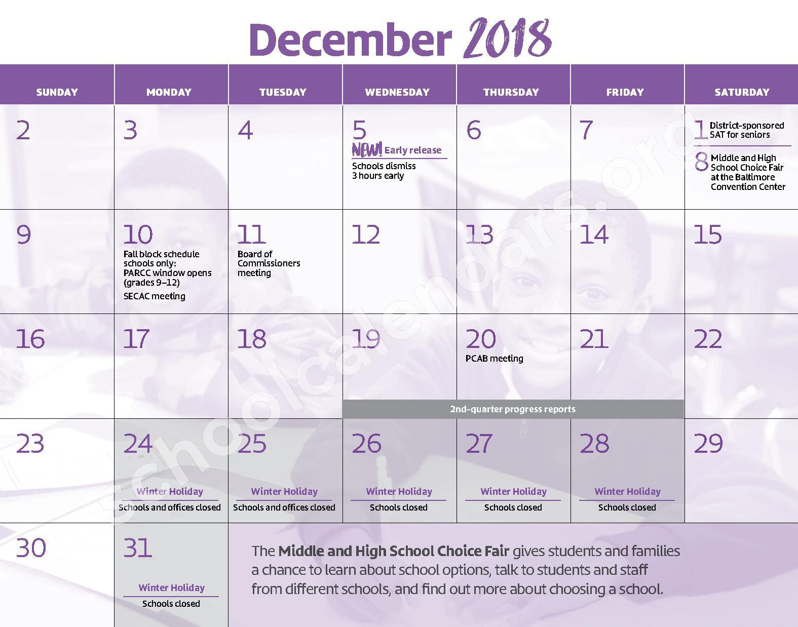 2018 - 2019 District Calendar – George W.F. McMechen – page 7