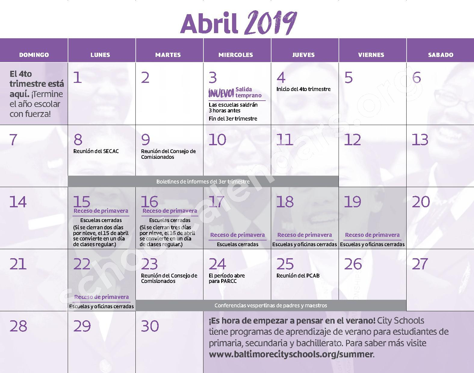 2018 - 2019 Calendario Escolar – Curtis Bay Elementary School – page 11