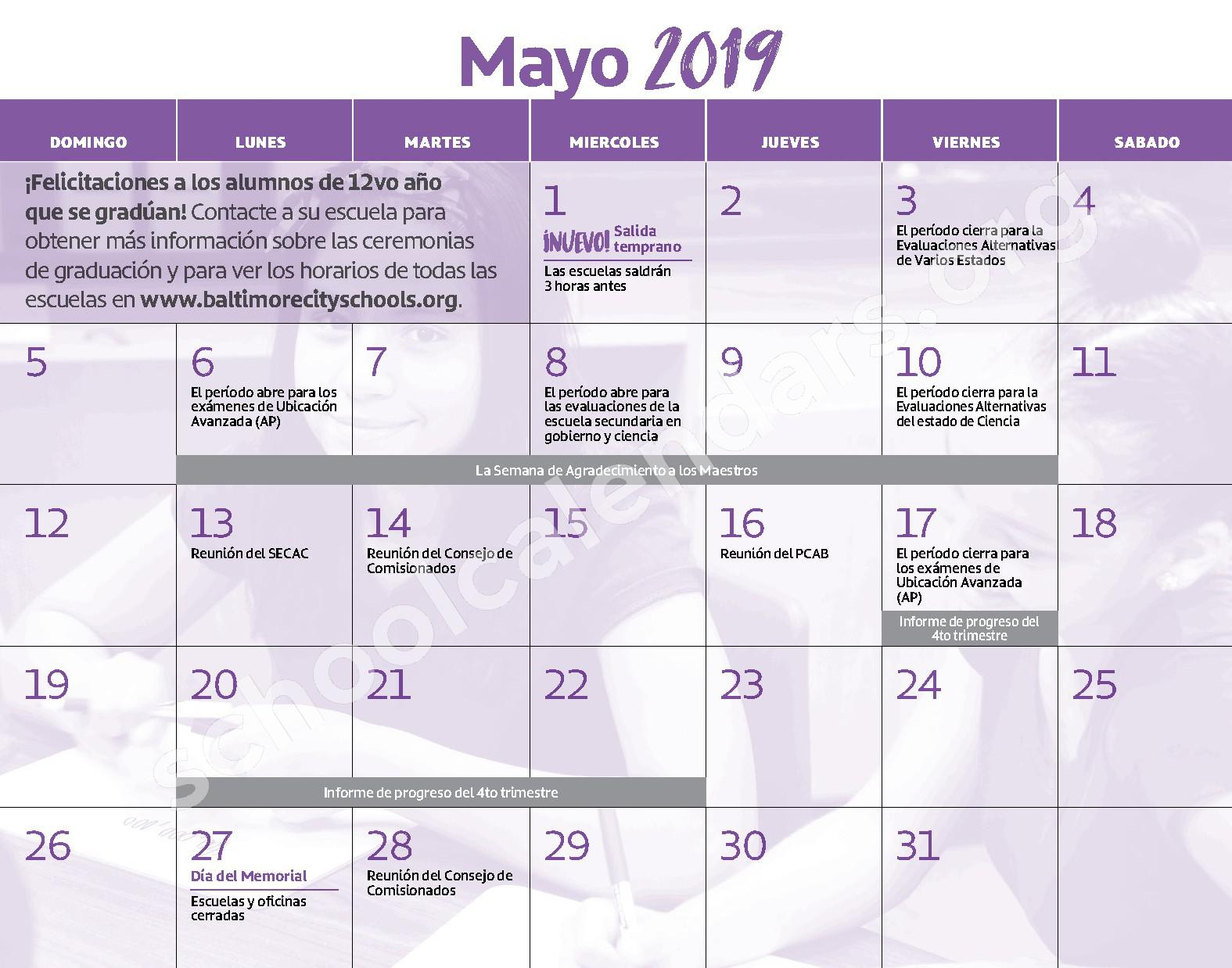 2018 - 2019 Calendario Escolar – Curtis Bay Elementary School – page 12