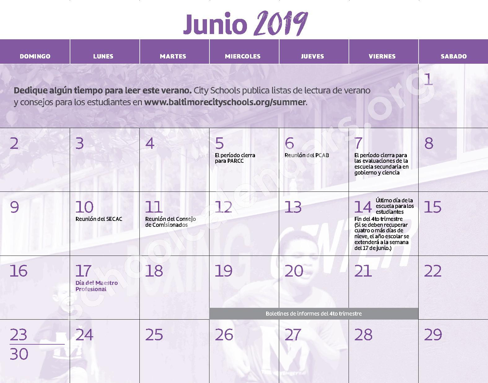 2018 - 2019 Calendario Escolar – East Baltimore Community School – page 13