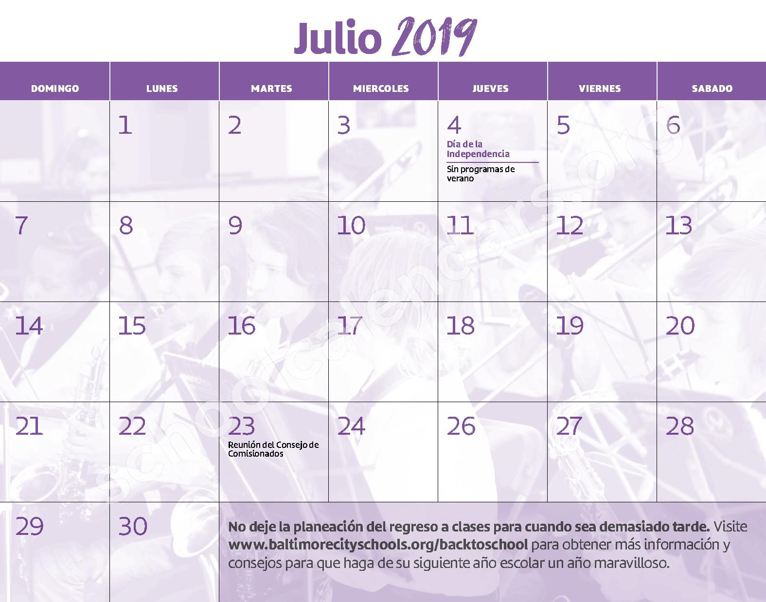 2018 - 2019 Calendario Escolar – East Baltimore Community School – page 14