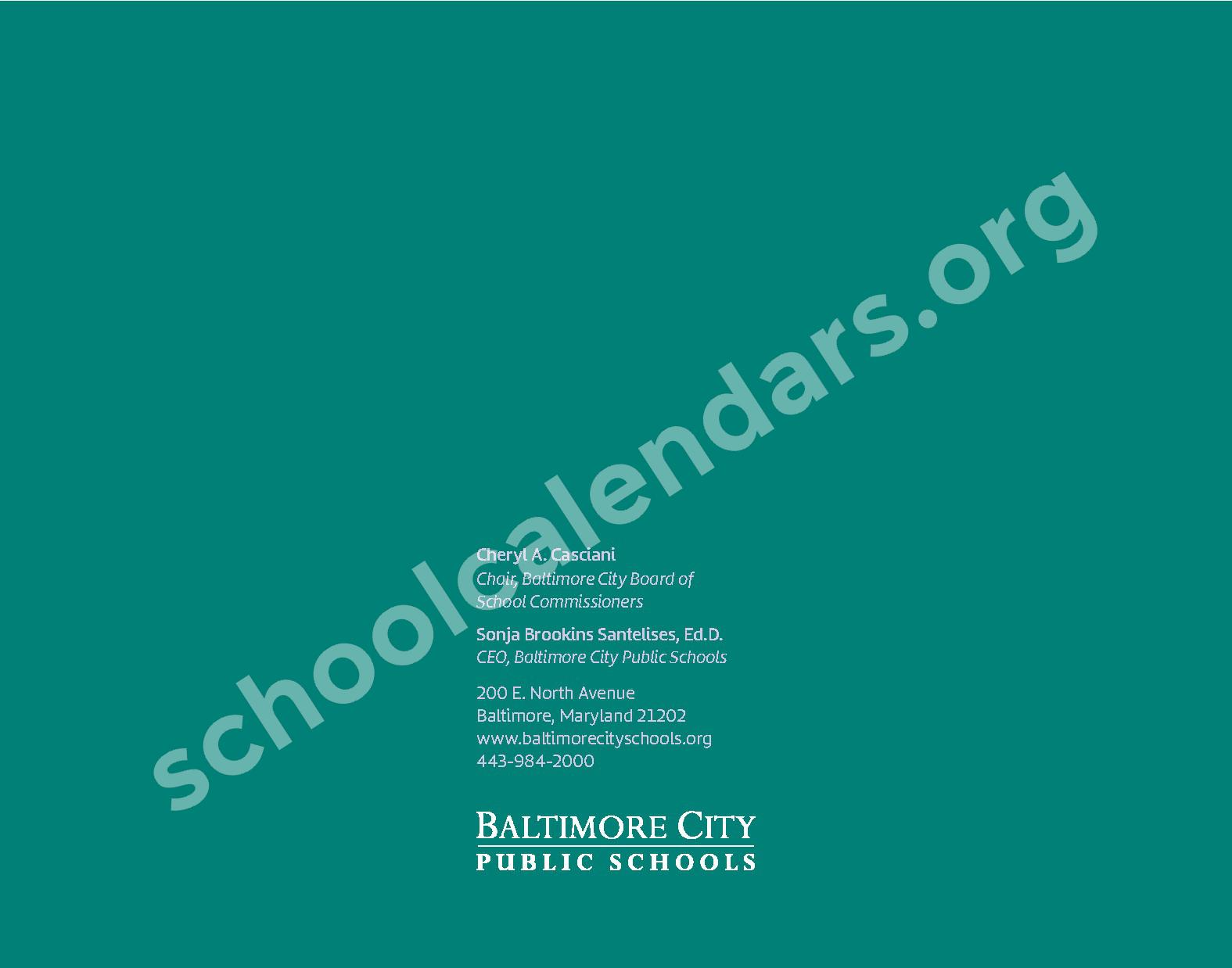 2018 - 2019 Calendario Escolar – East Baltimore Community School – page 16
