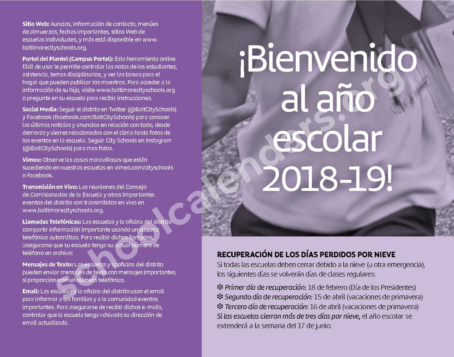 2018 - 2019 Calendario Escolar – Baltimore City College – page 3