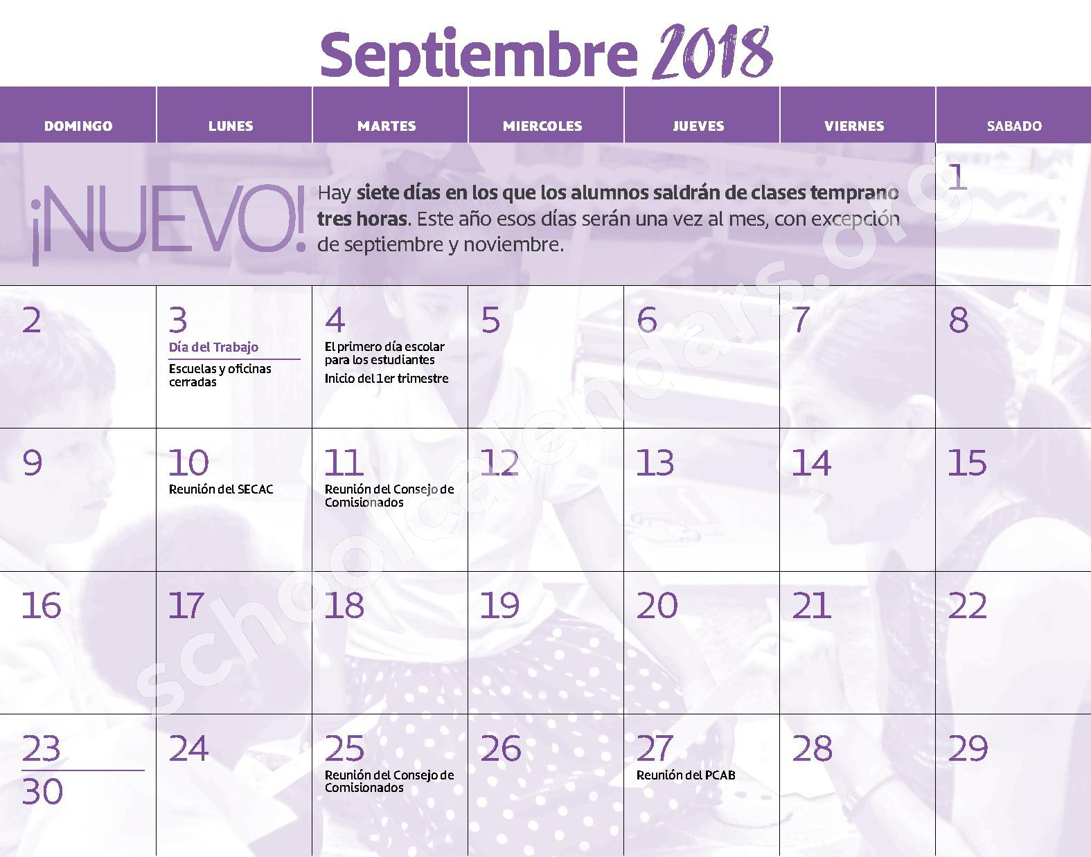2018 - 2019 Calendario Escolar – Claremont School – page 4