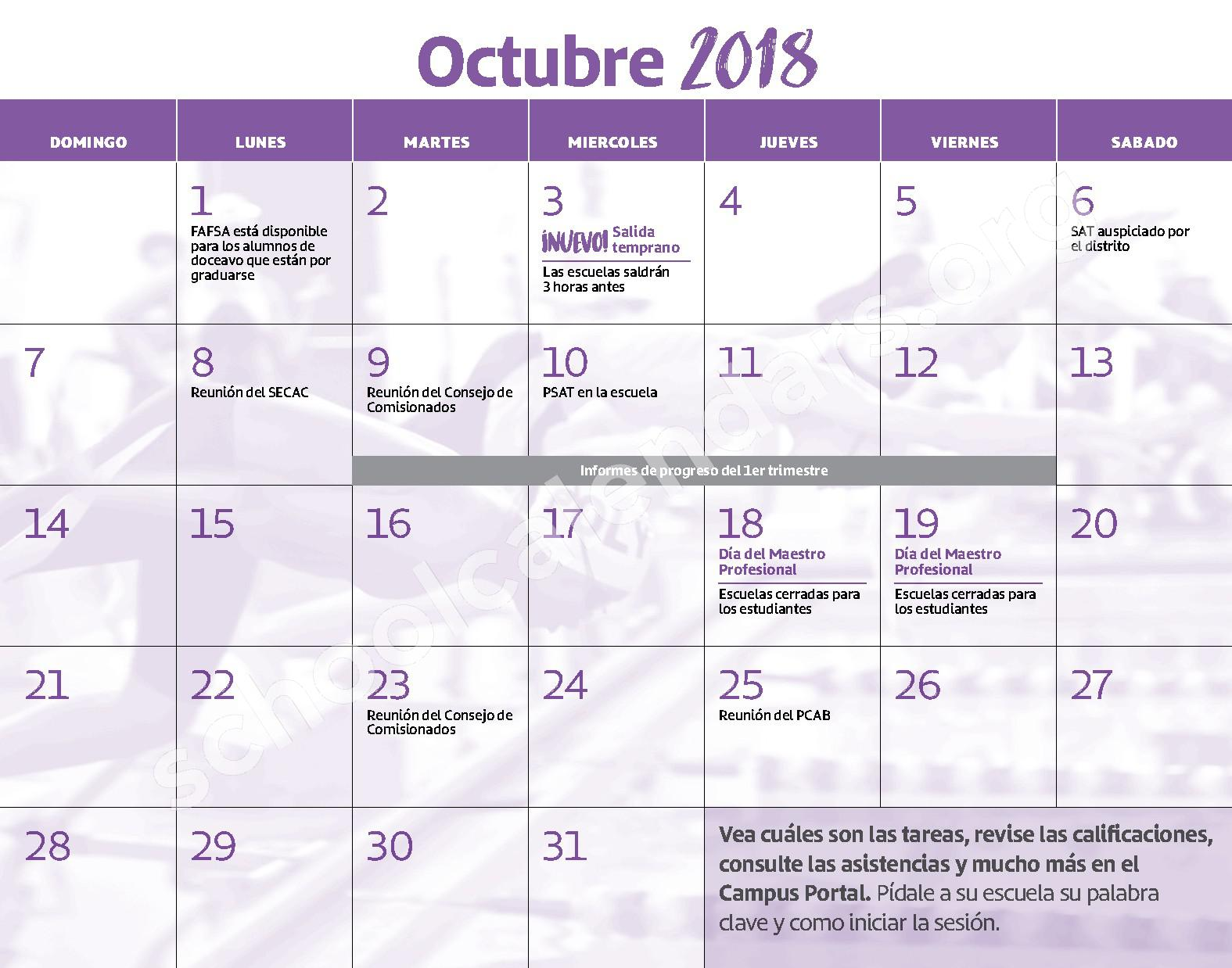 2018 - 2019 Calendario Escolar – Claremont School – page 5