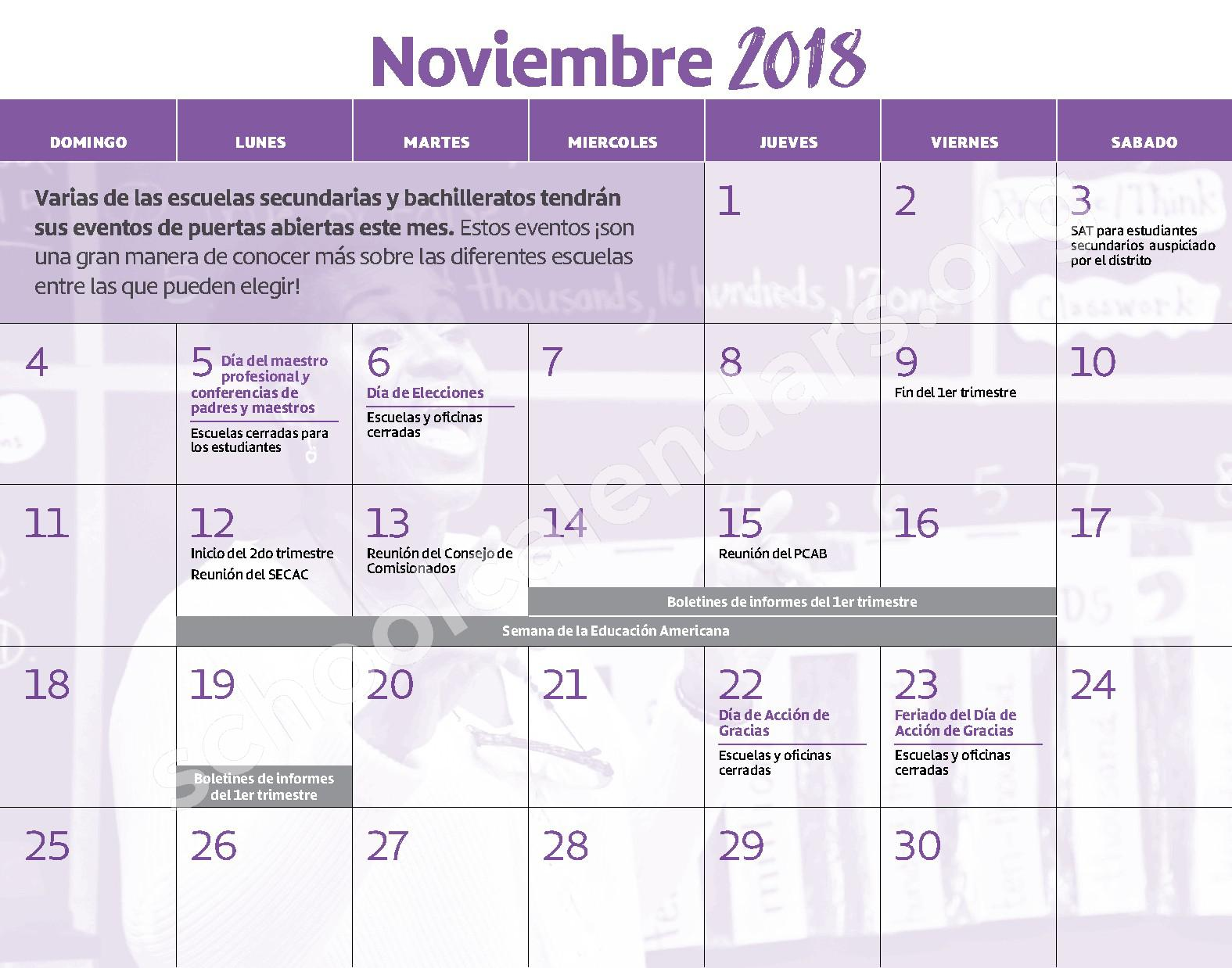 2018 - 2019 Calendario Escolar – Claremont School – page 6