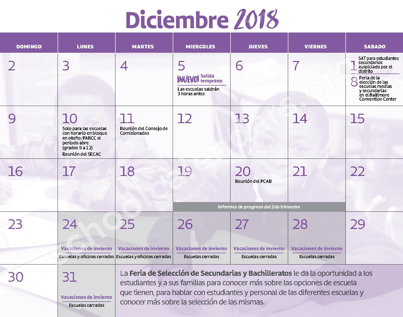 2018 - 2019 Calendario Escolar – Claremont School – page 7