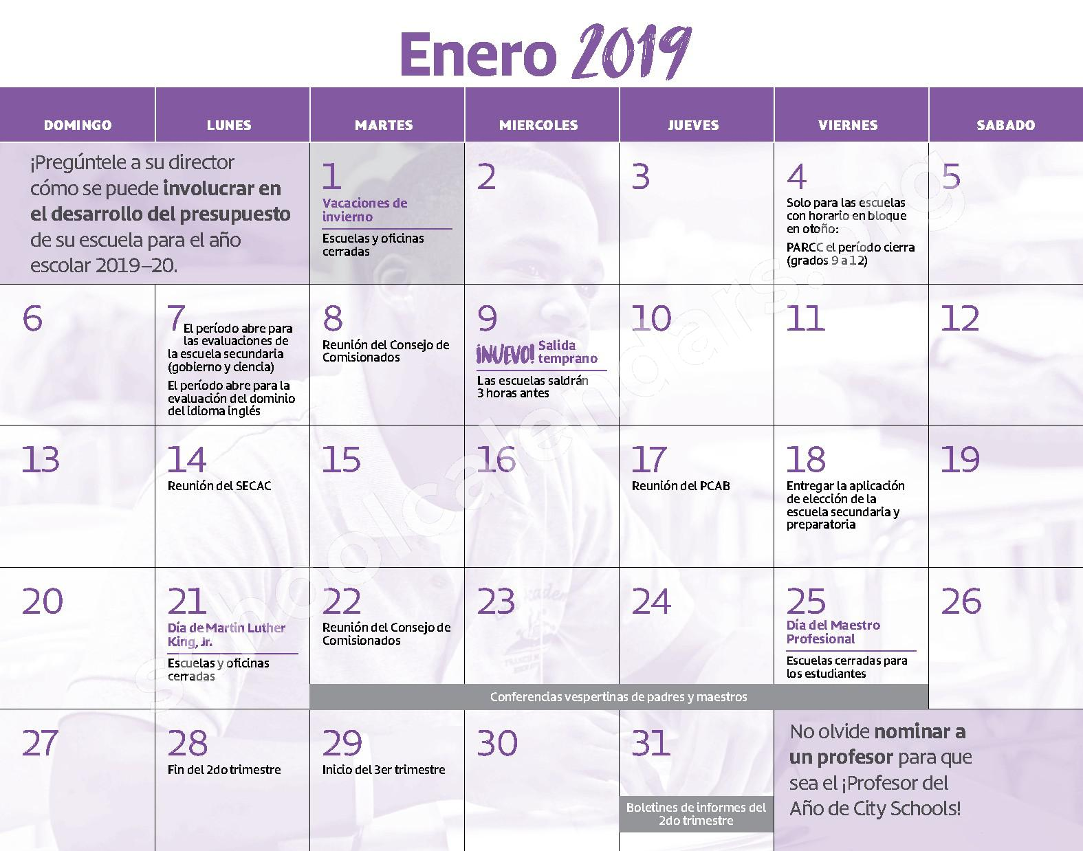 2018 - 2019 Calendario Escolar – W.E.B. DuBois High School – page 8