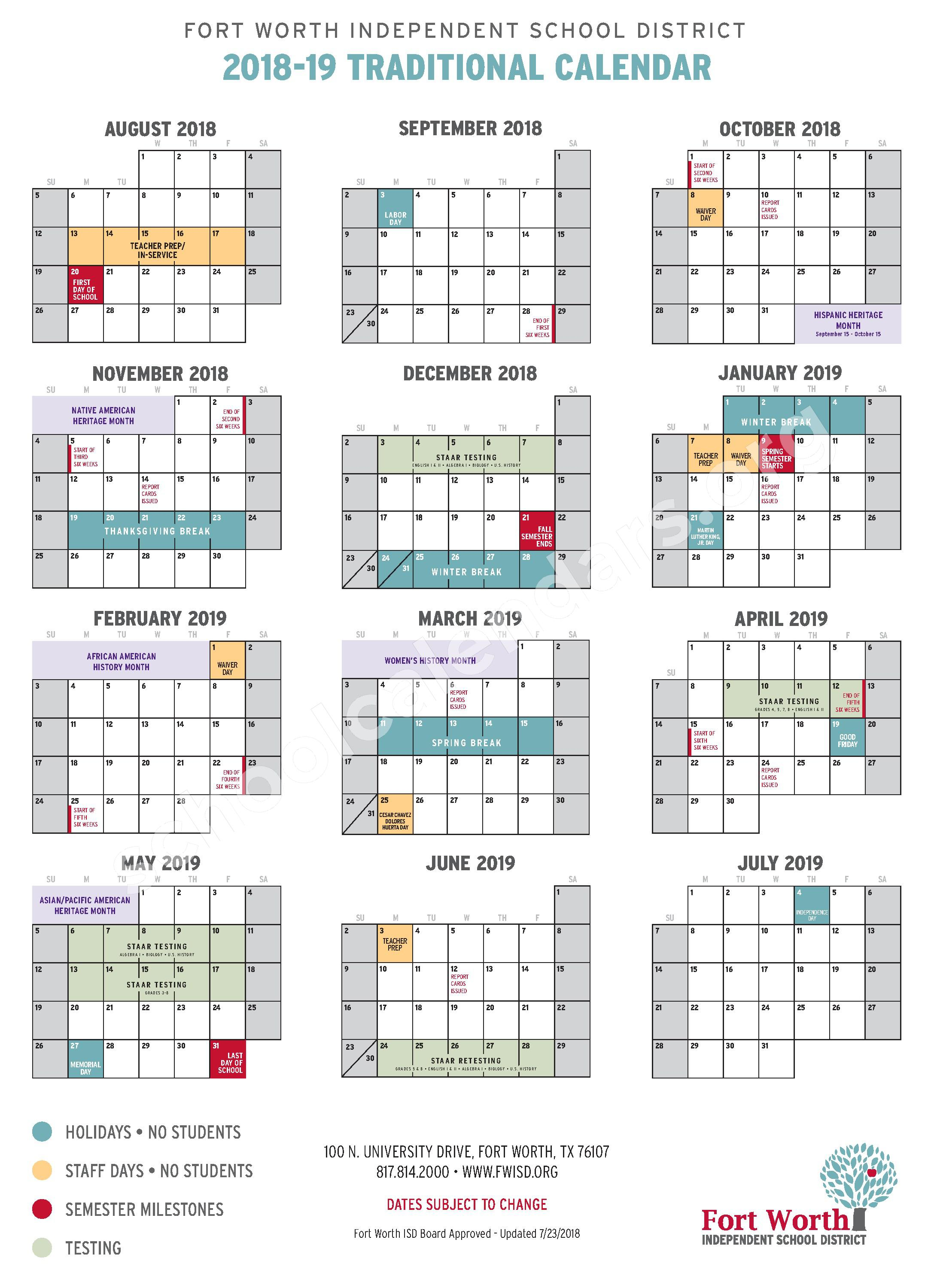 2018 - 2019 Traditional School Calendar – Fort Worth Independent School District – page 1