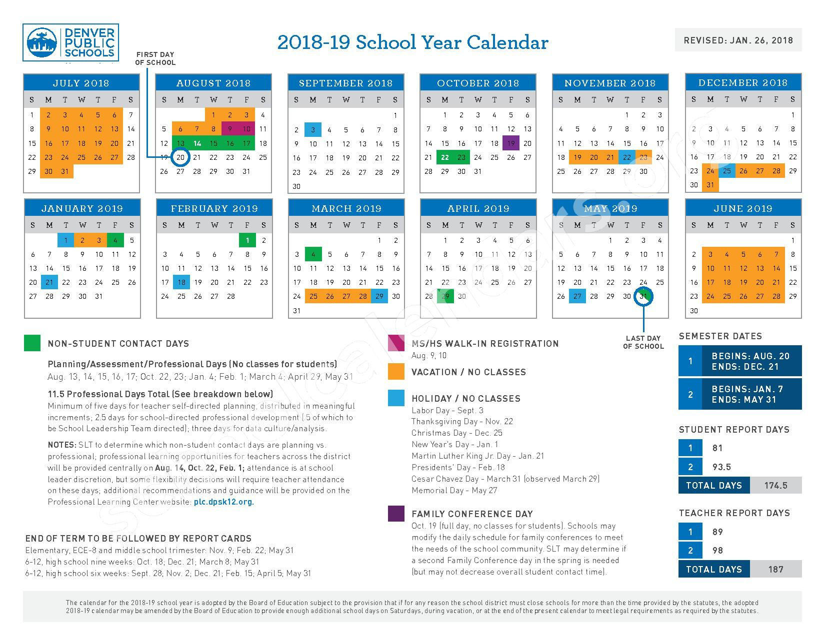 2018 - 2019 School Year Calendar – Denver Green School – page 1