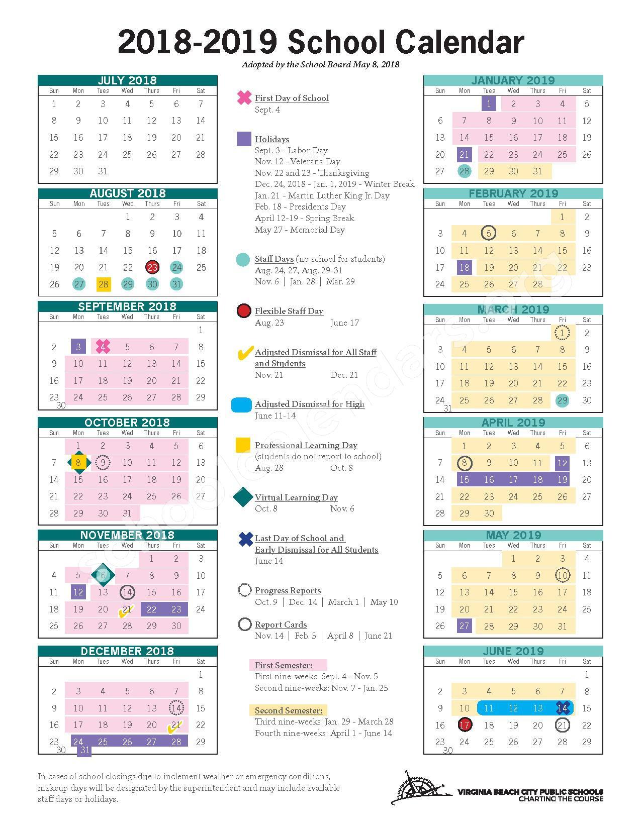 2018 - 2019 School Calendar – Kingston Elementary School – page 1