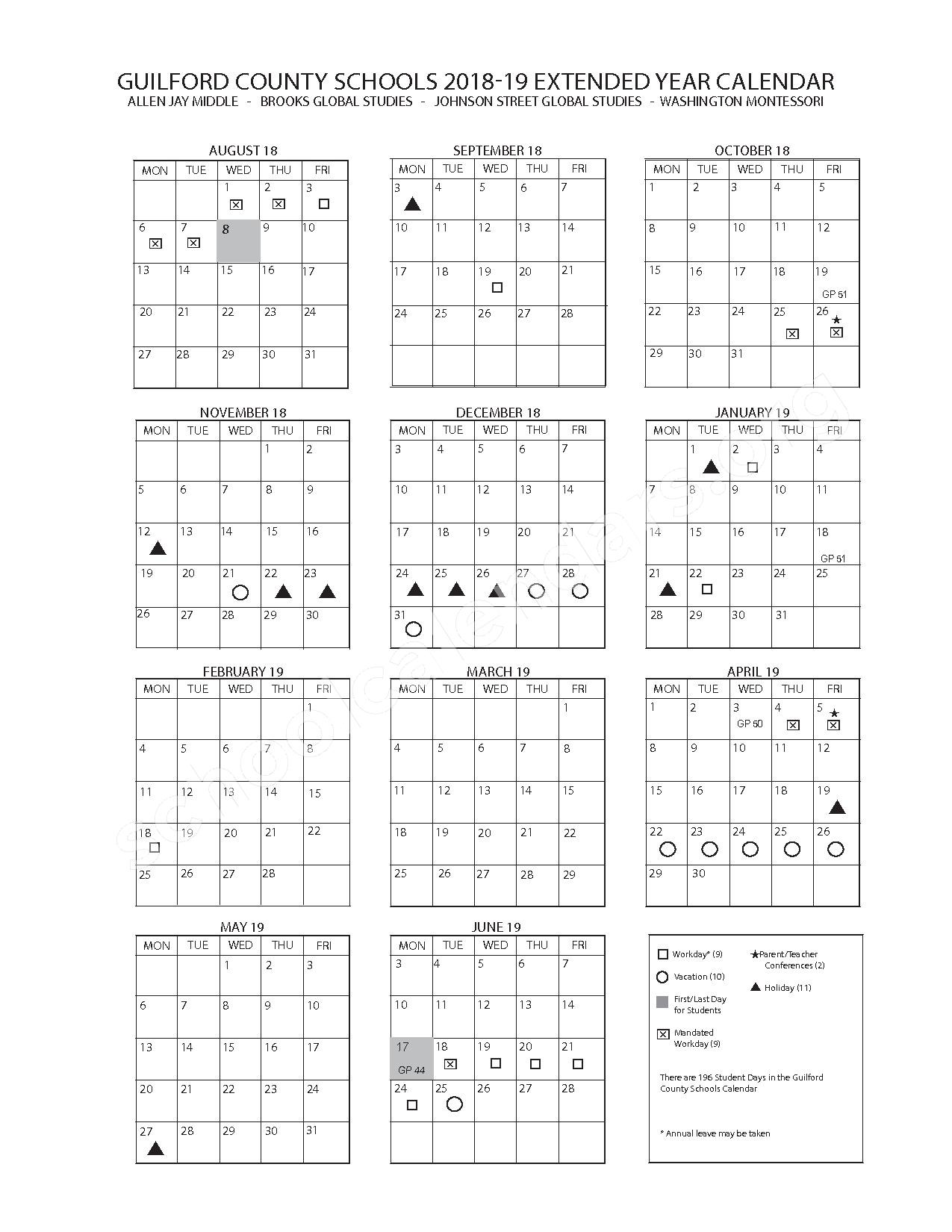 2018 - 2019 Extended Year Calendar – Guilford County Schools – page 1