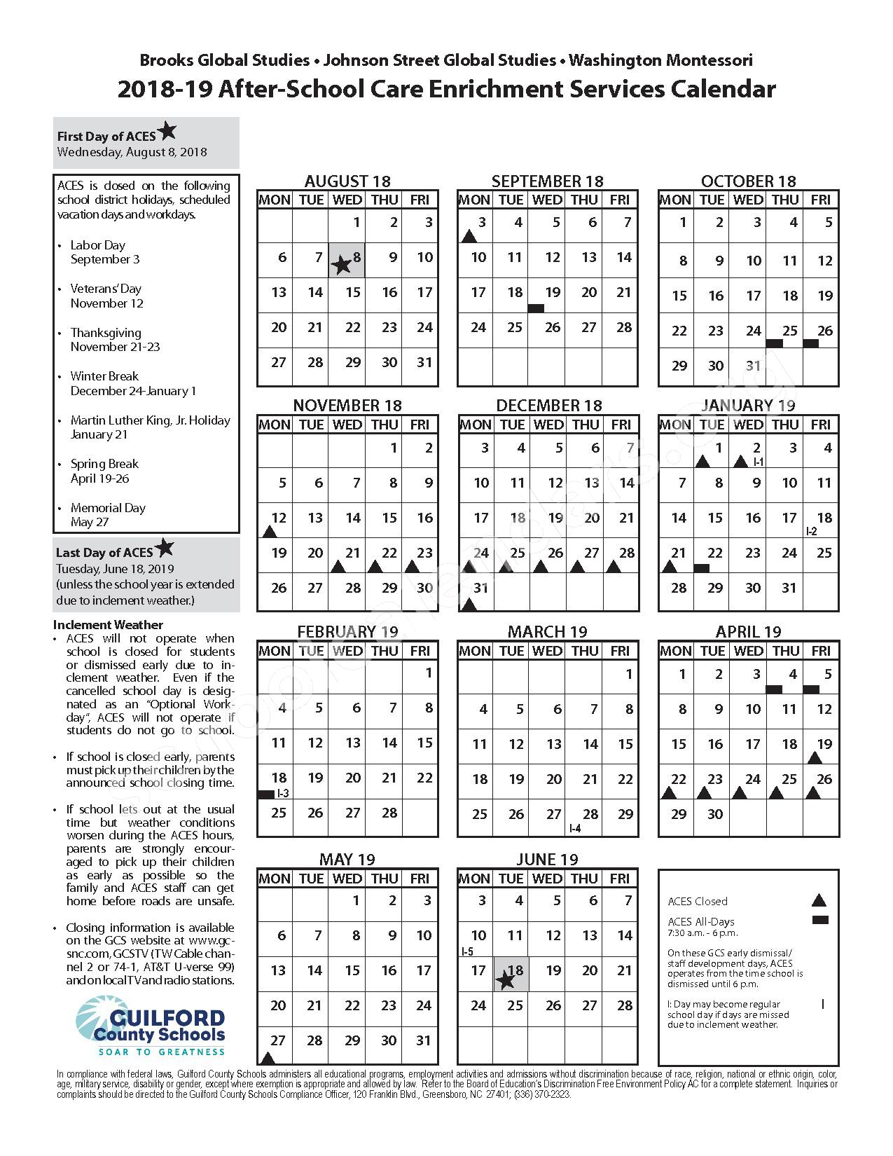 2018 - 2019 After-School Care Enrichment Services Calendar – Penn-Griffin Middle School – page 1