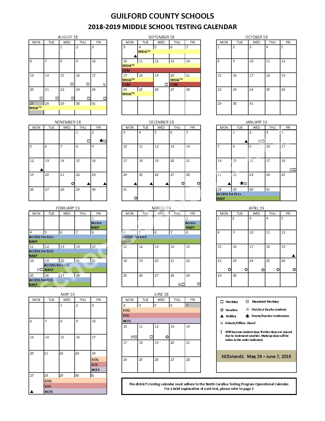 2018 - 2019 Middle School Testing Calendar – Guilford County Schools – page 1