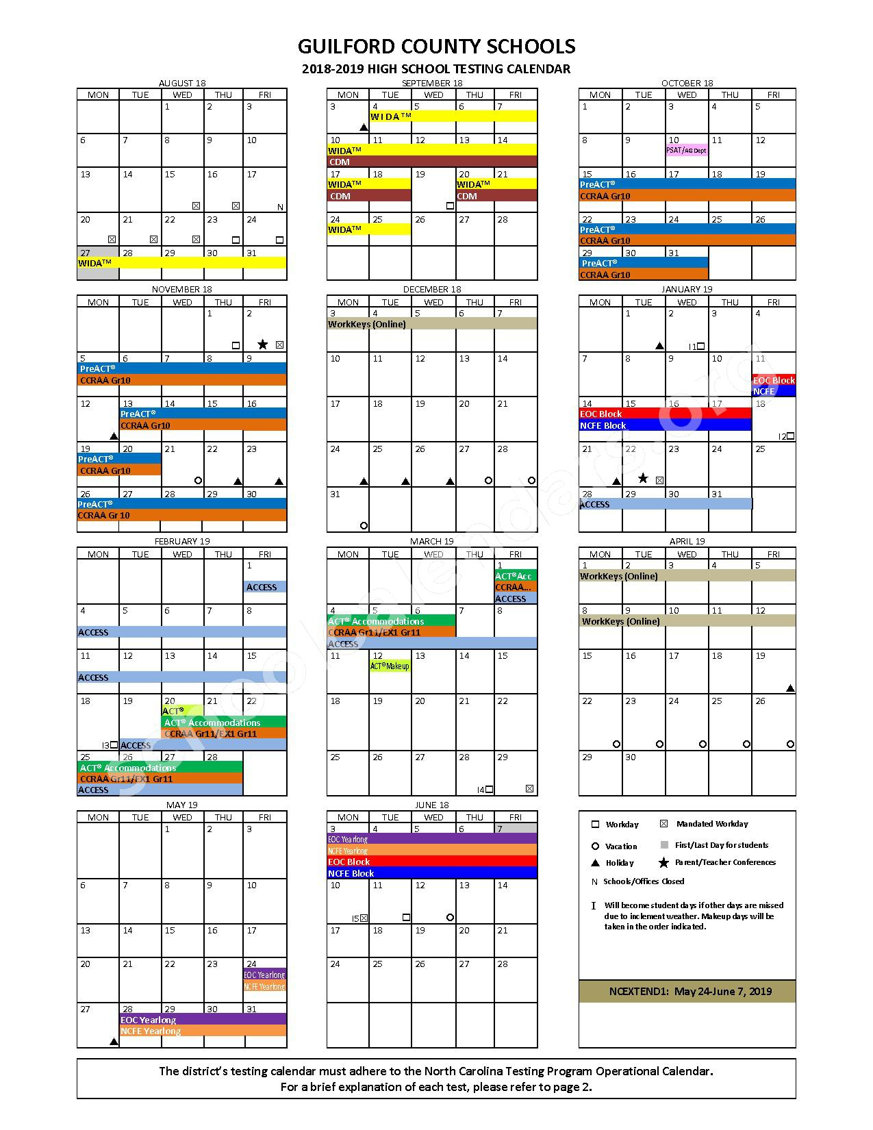 2018 - 2019 High School Testing Calendar – Meredith Leigh Haynes-Bennie Lee Inman – page 1