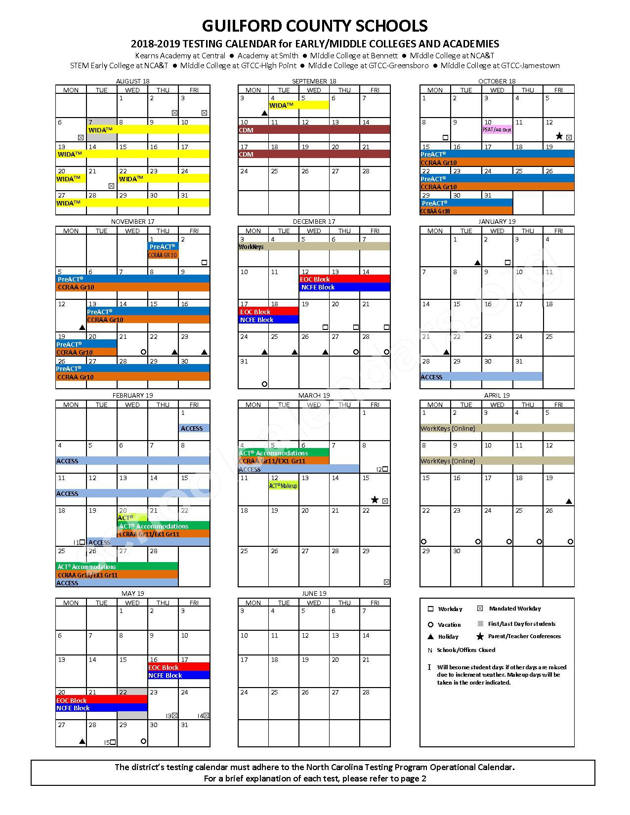 2018 - 2019 Testing Calendar for Early/Middle Colleges & Academies – T Wingate Andrews High School – page 1