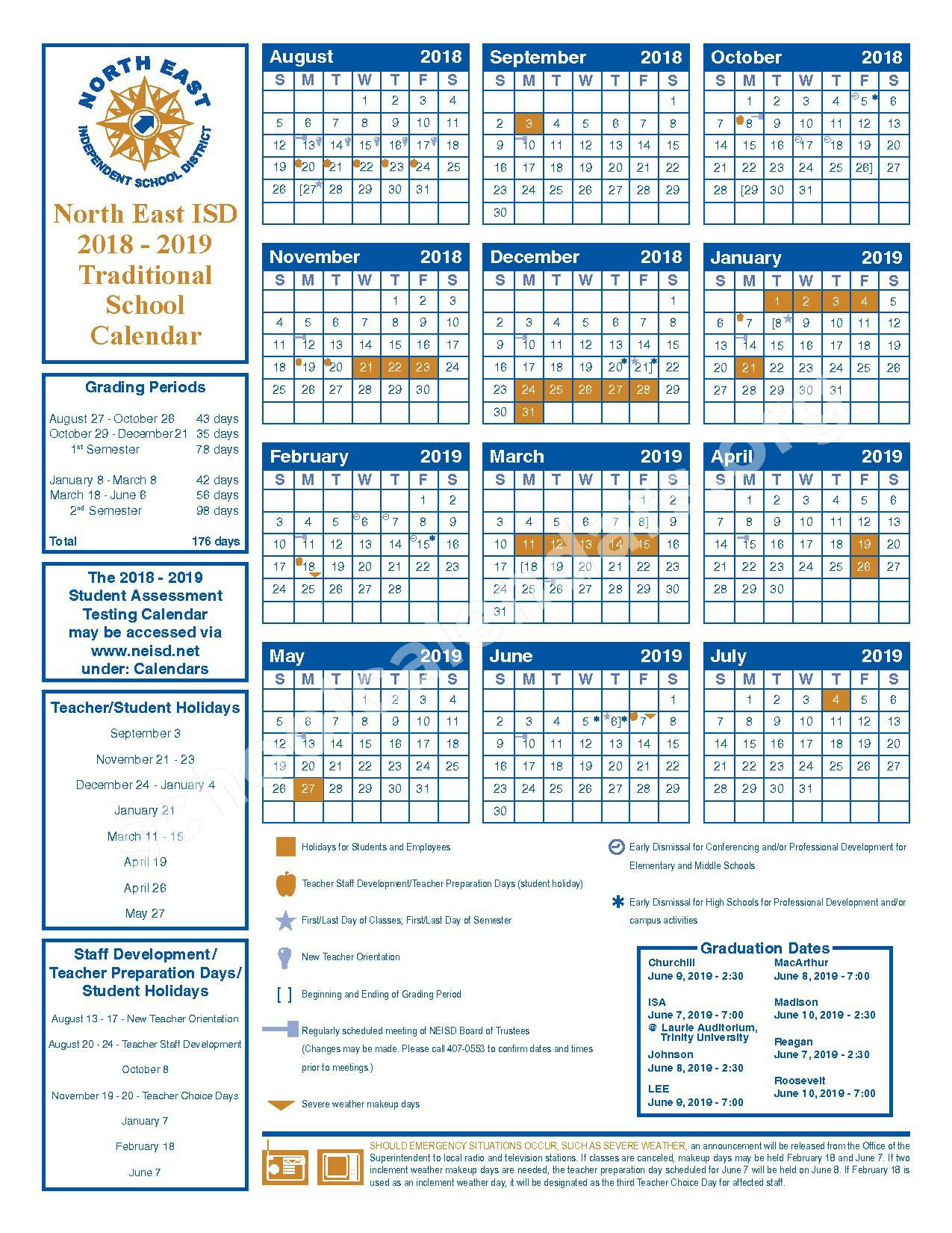 2018 - 2019 Traditional School Calendar – Adolescent Intervention Center – page 1
