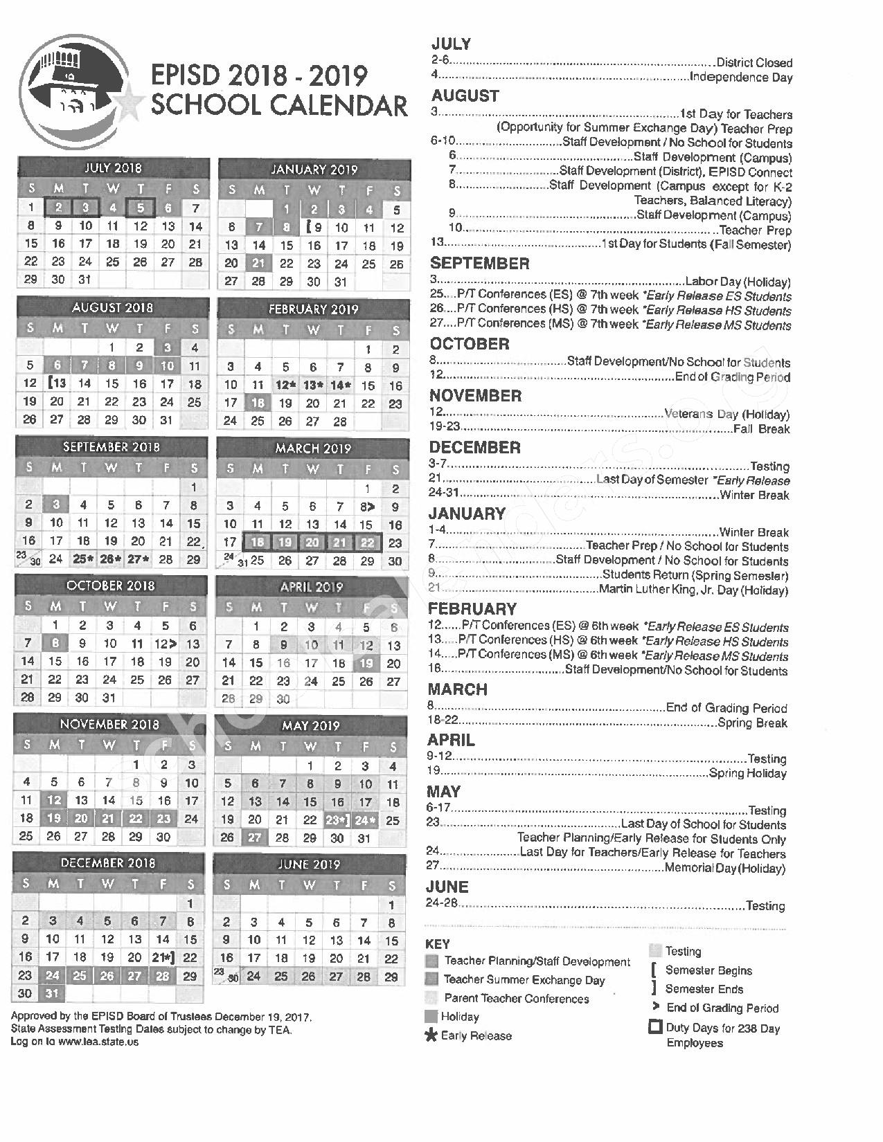 2018 - 2019 EPISD Calendar – El Paso Independent School District – page 1