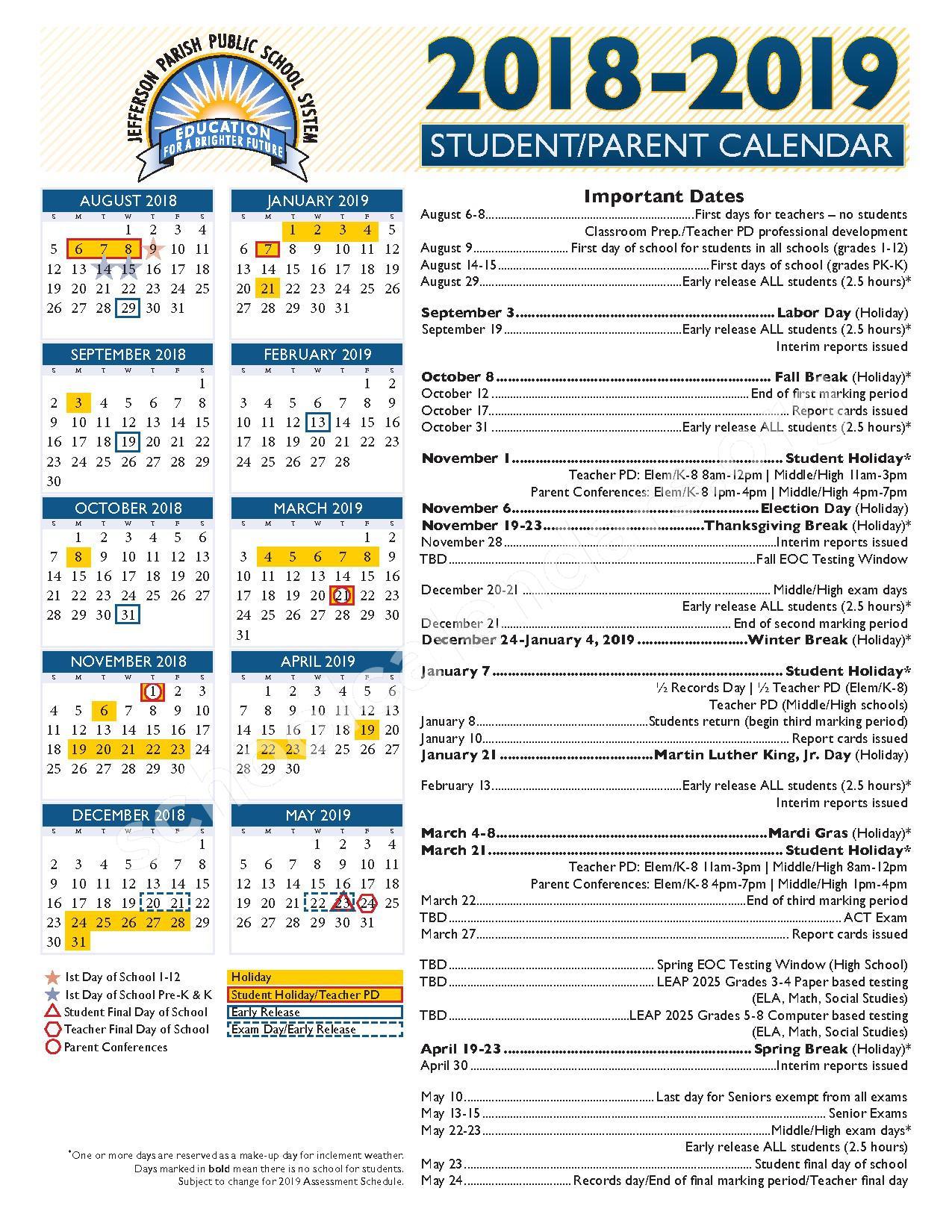 2018 - 2019 School Year Calendar – Jefferson Parish Public School System – page 1