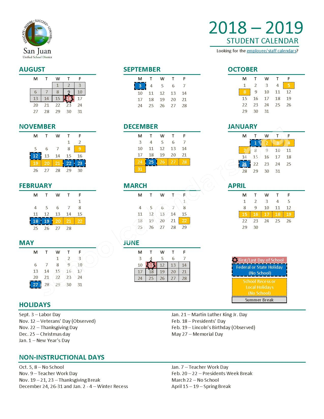2018 - 2019 Student Calendar – San Juan Unified School District - Sacramento County School District – page 1