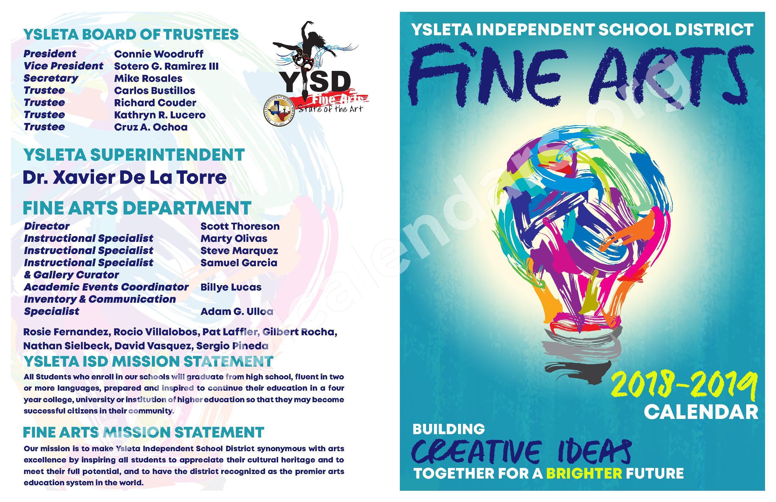 2018 - 2019 YISD Fine Arts Calendar – Desertaire Elementary School – page 1