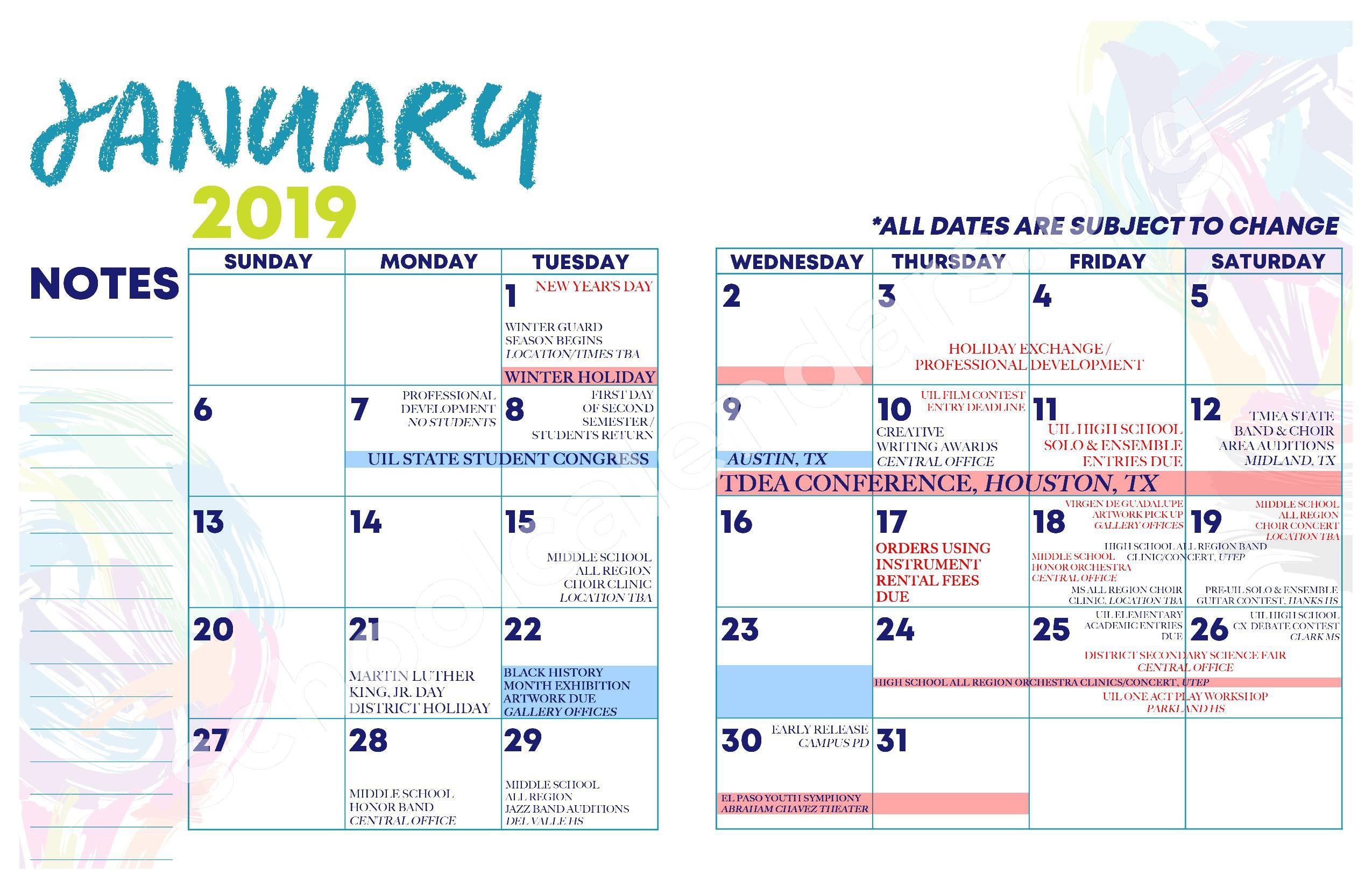 2018 - 2019 YISD Fine Arts Calendar – Desertaire Elementary School – page 10