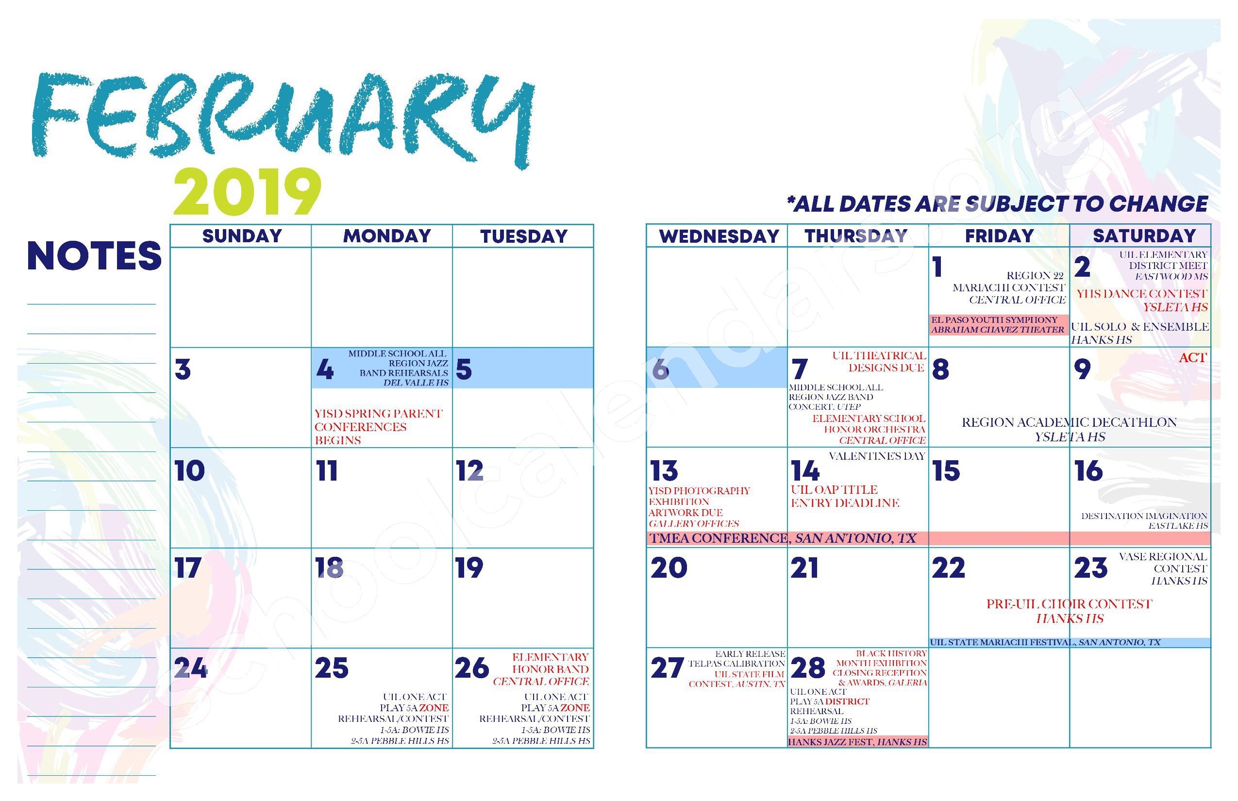 2018 - 2019 YISD Fine Arts Calendar – Desertaire Elementary School – page 11