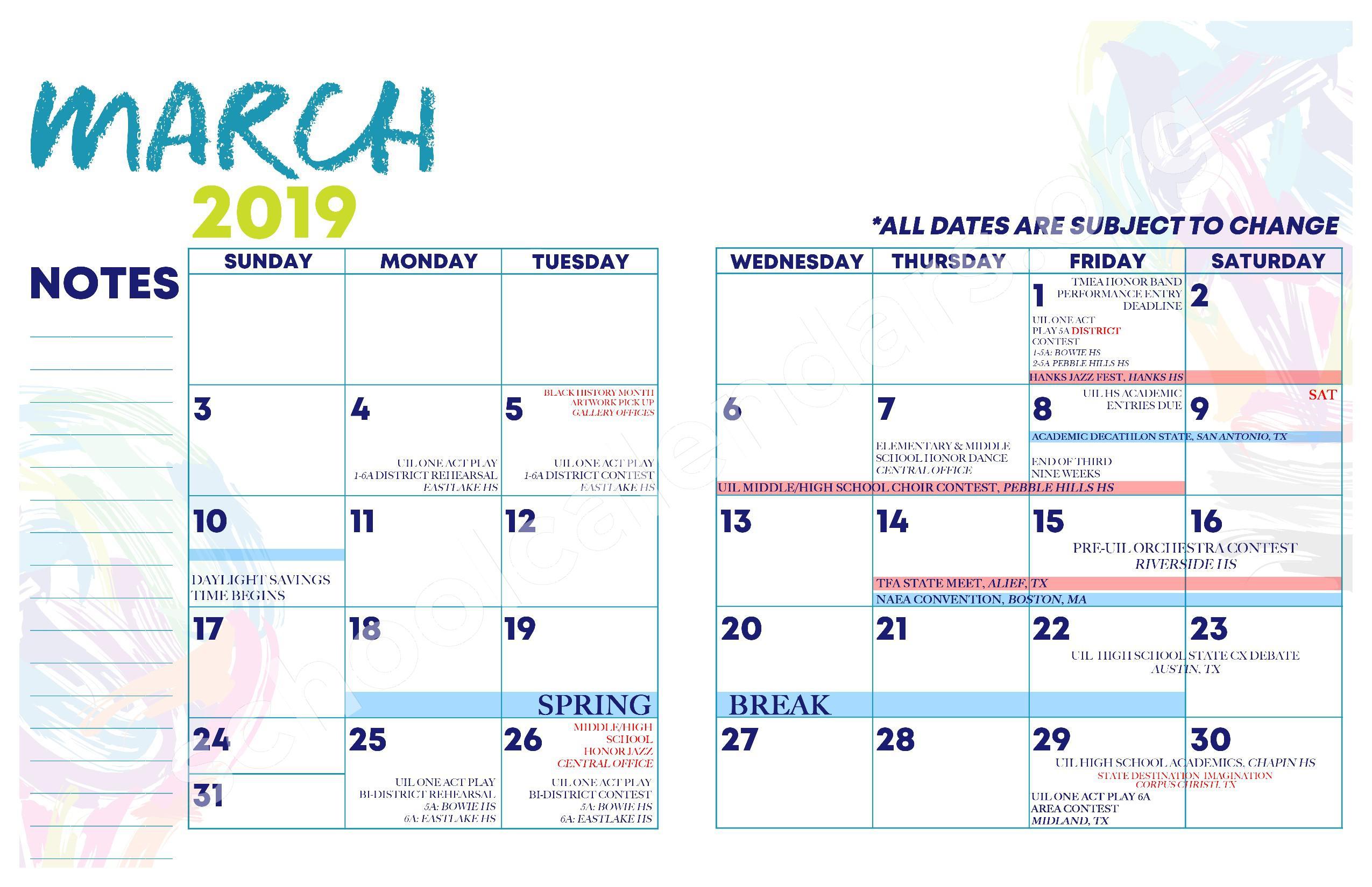 2018 - 2019 YISD Fine Arts Calendar – Desertaire Elementary School – page 12