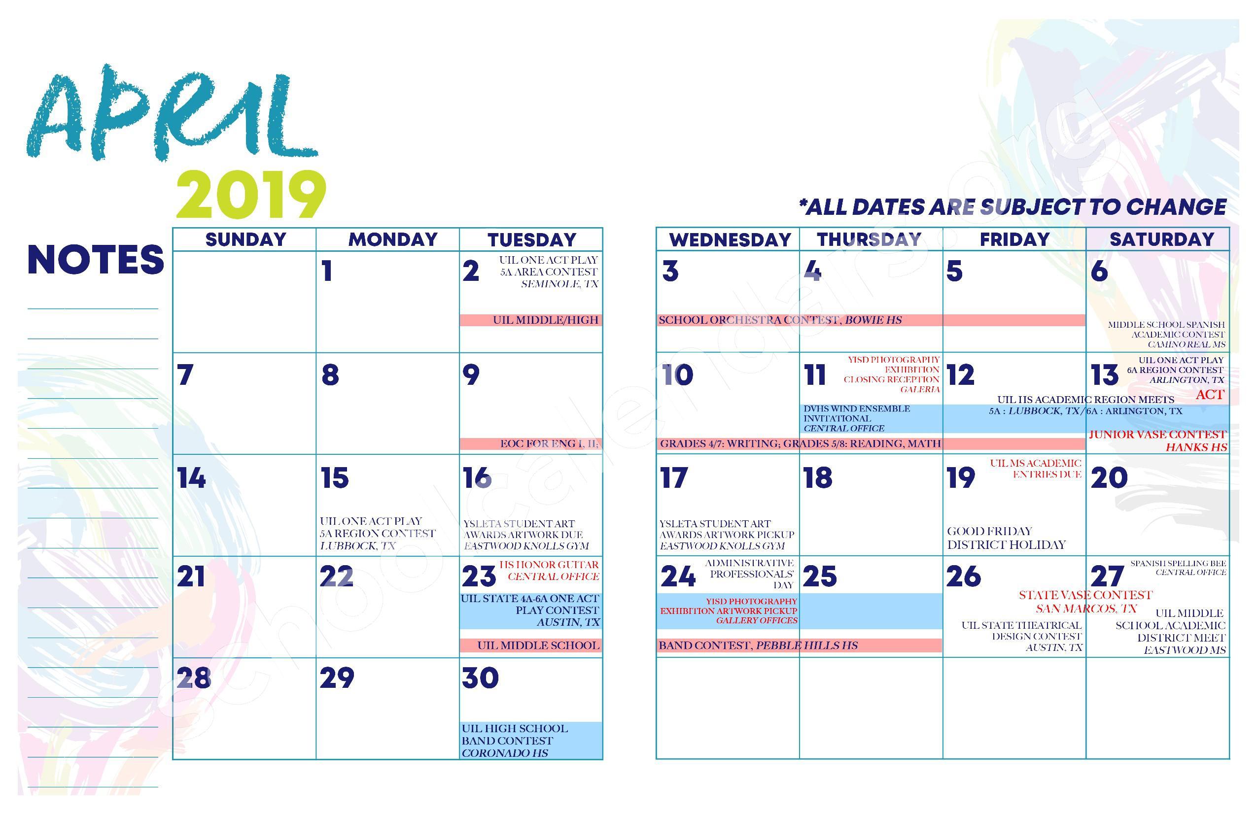2018 - 2019 YISD Fine Arts Calendar – Desertaire Elementary School – page 13