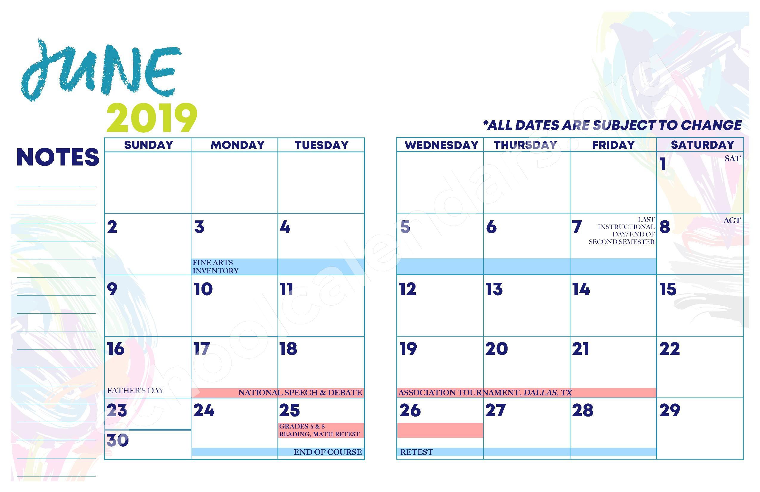 2018 - 2019 YISD Fine Arts Calendar – Desertaire Elementary School – page 15