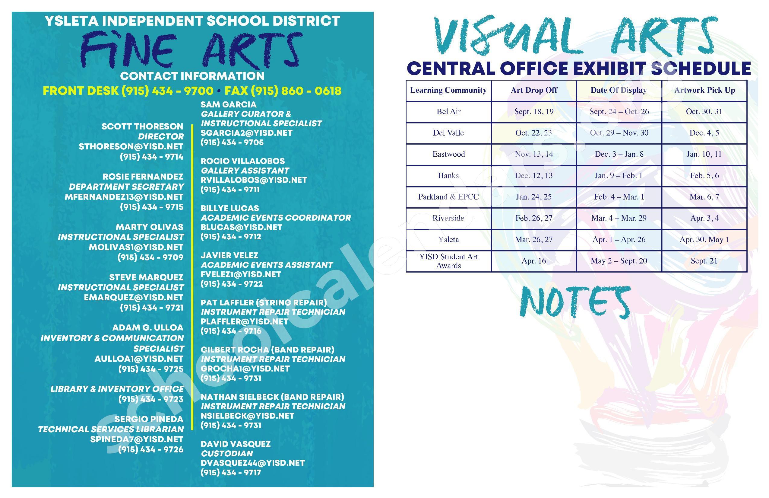 2018 - 2019 YISD Fine Arts Calendar – Desertaire Elementary School – page 2