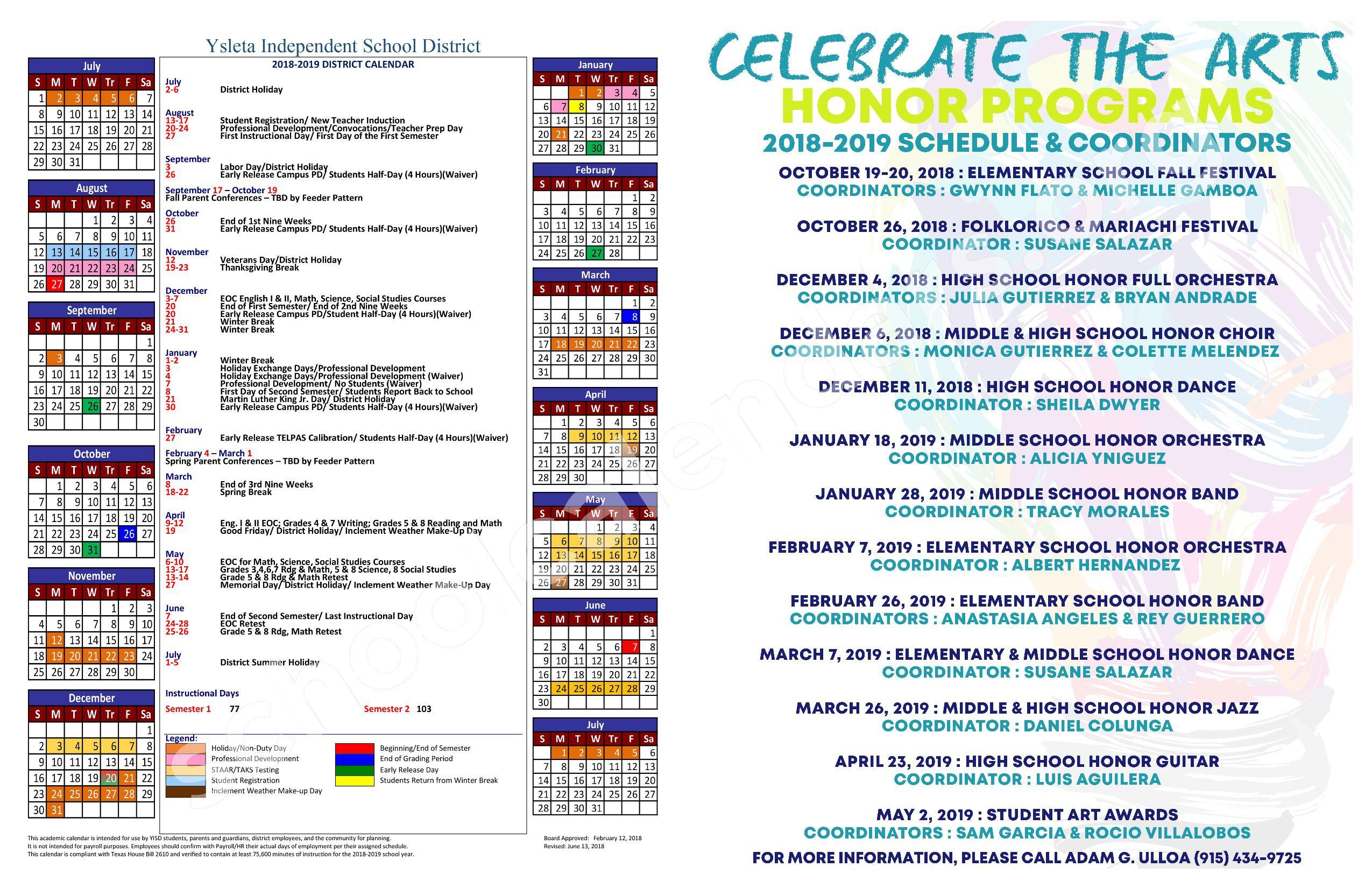 2018 - 2019 YISD Fine Arts Calendar – Desertaire Elementary School – page 3