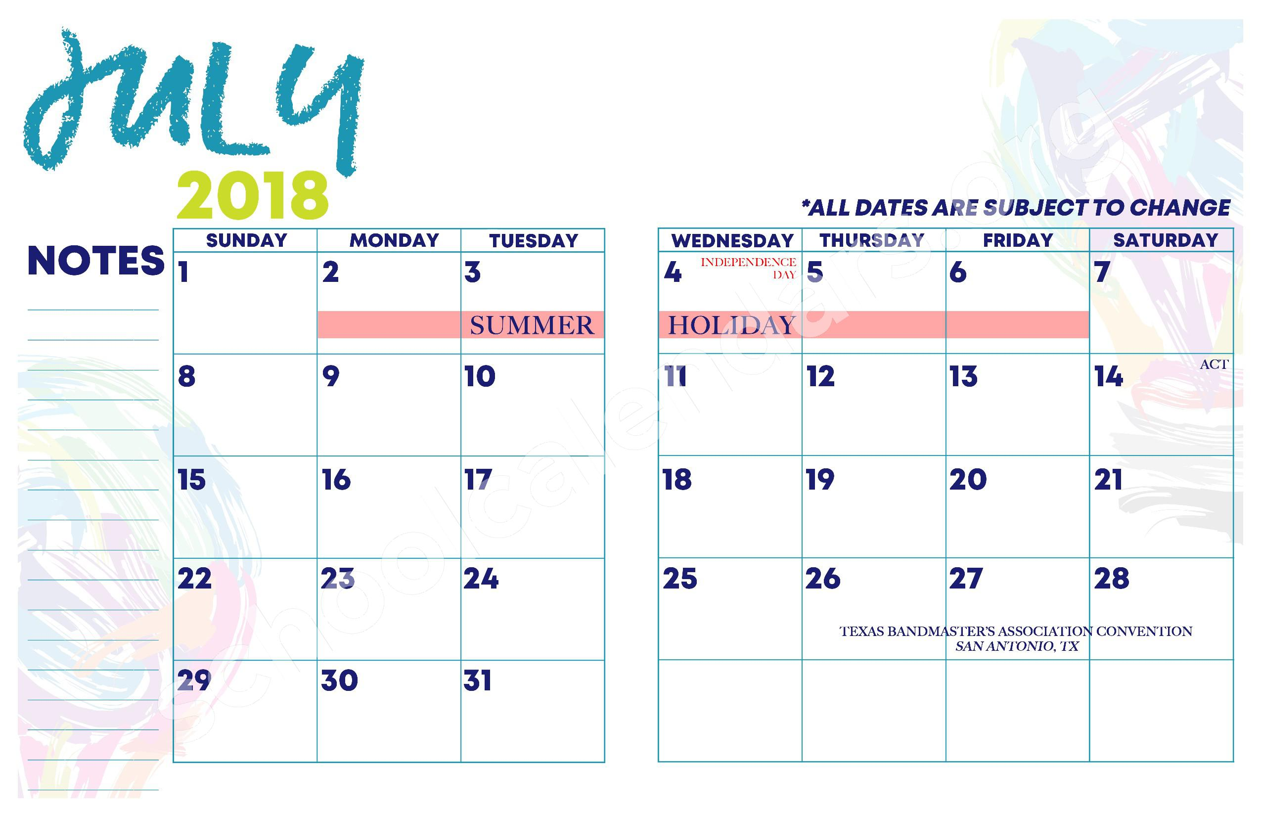 2018 - 2019 YISD Fine Arts Calendar – Desertaire Elementary School – page 4