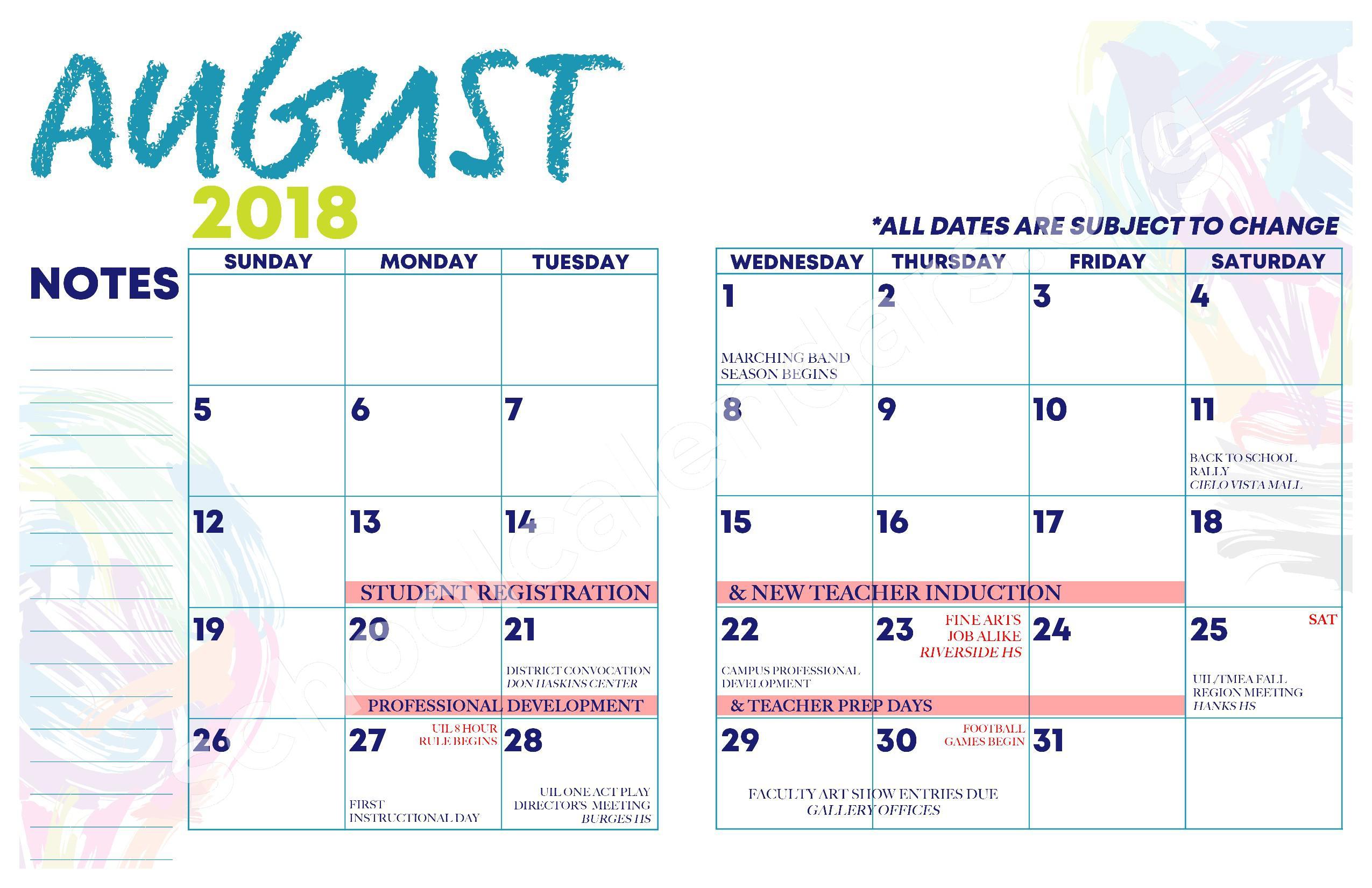 2018 - 2019 YISD Fine Arts Calendar – Desertaire Elementary School – page 5