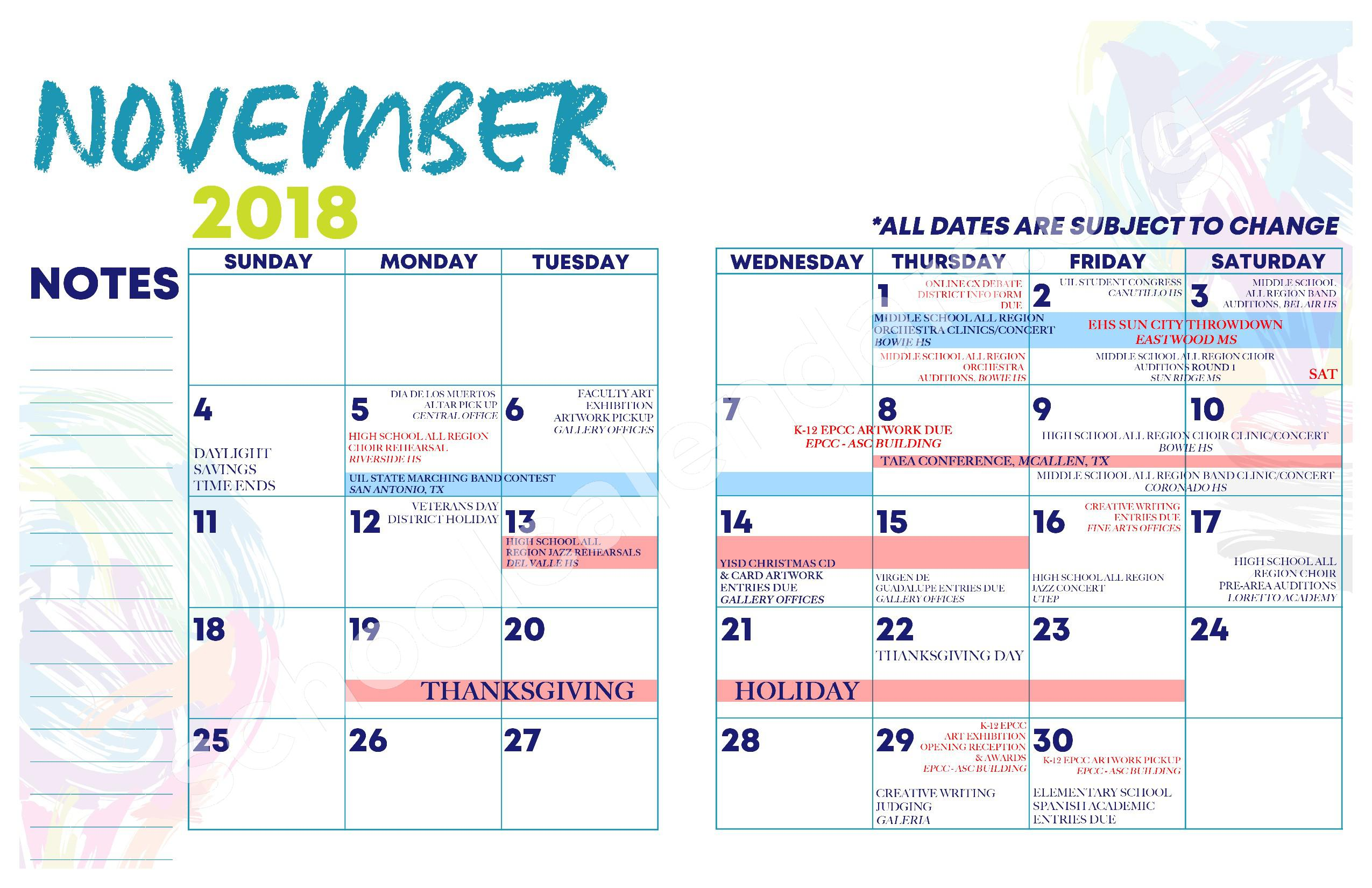 2018 - 2019 YISD Fine Arts Calendar – Desertaire Elementary School – page 8