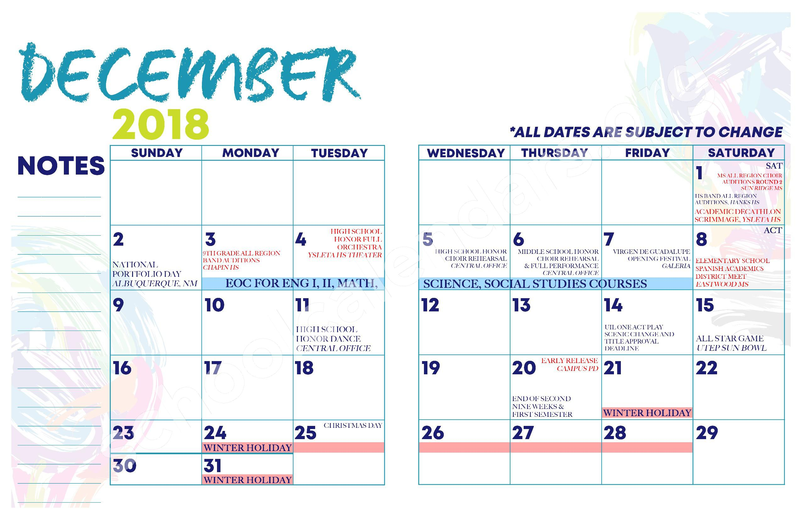 2018 - 2019 YISD Fine Arts Calendar – Desertaire Elementary School – page 9