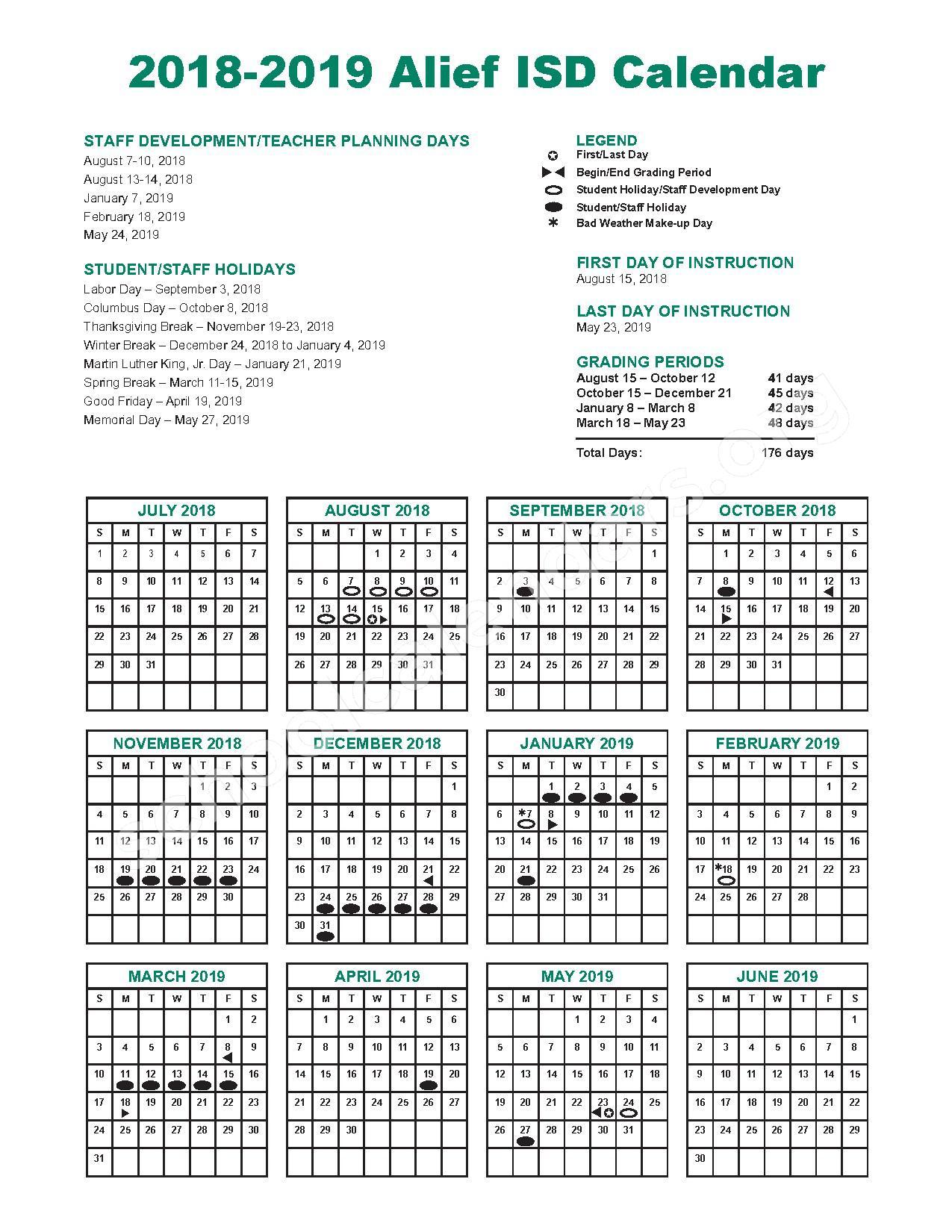 2018 - 2019 District Calendar – Alief Independent School District – page 1